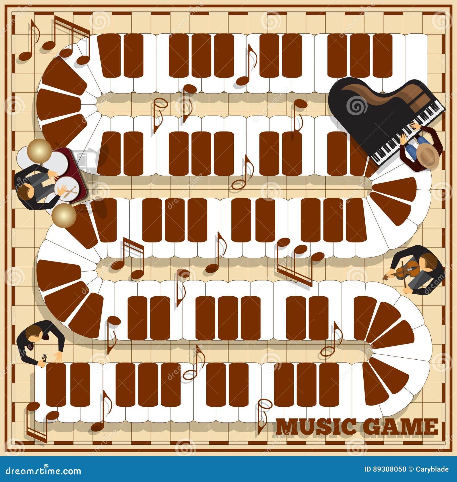 Chaves do piano em um campo quadriculado
