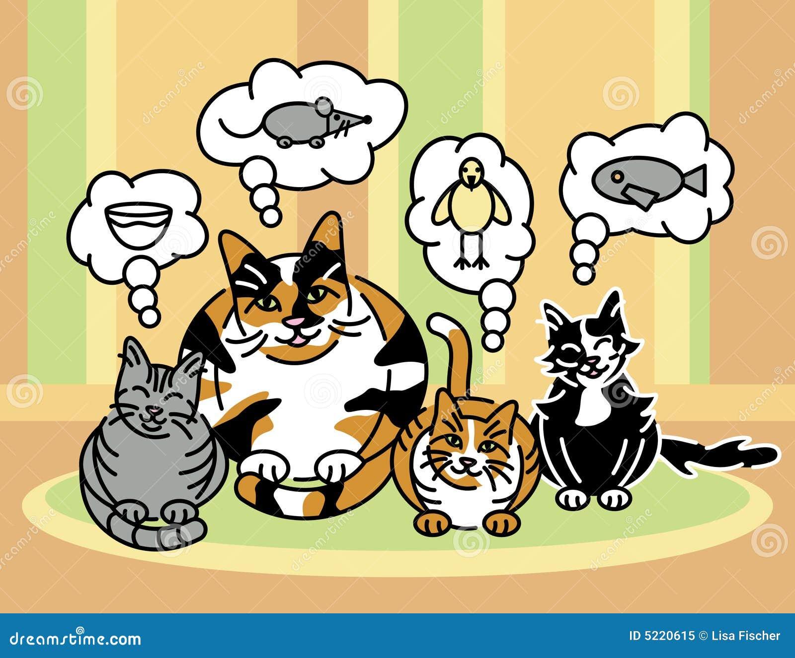 Che Gatti Pensano Circa Illustrazione Vettoriale Illustrazione Di