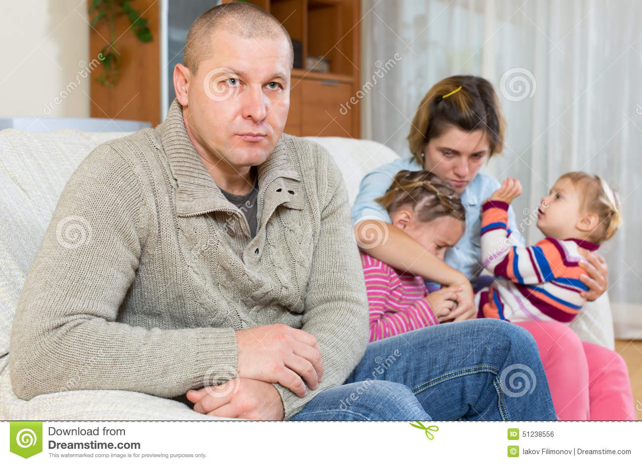 Cheating husband stock photo  Image of fighting, children
