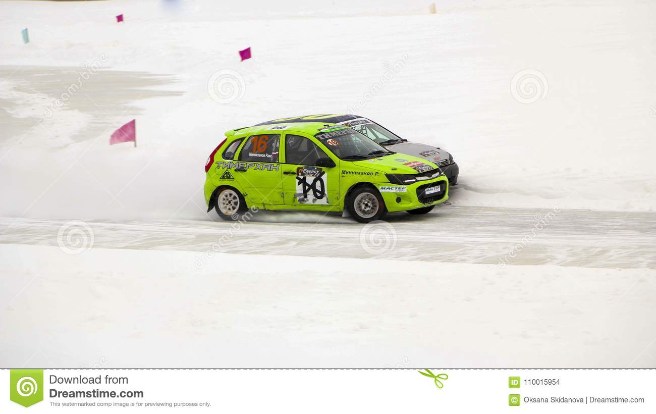 CHEBOKSARY RUSSIA JANUARY Winter Auto Show Ice Race - Bay city car show 2018