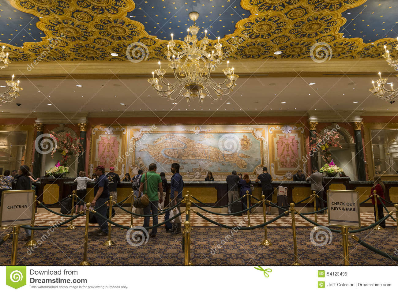 The Check In Area Of The Venetian Hotel In Las Vegas