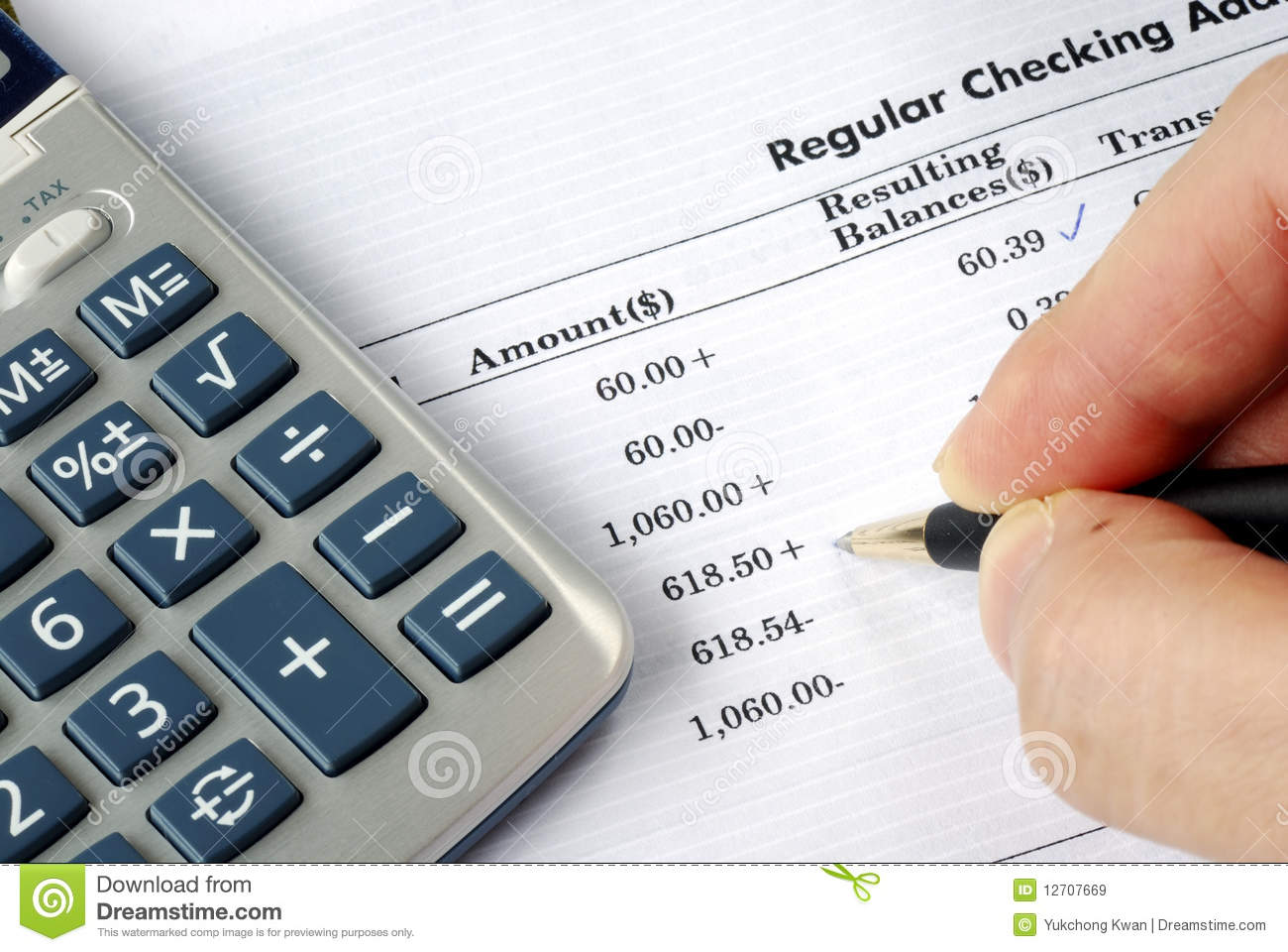 check the bank statement royalty free stock images