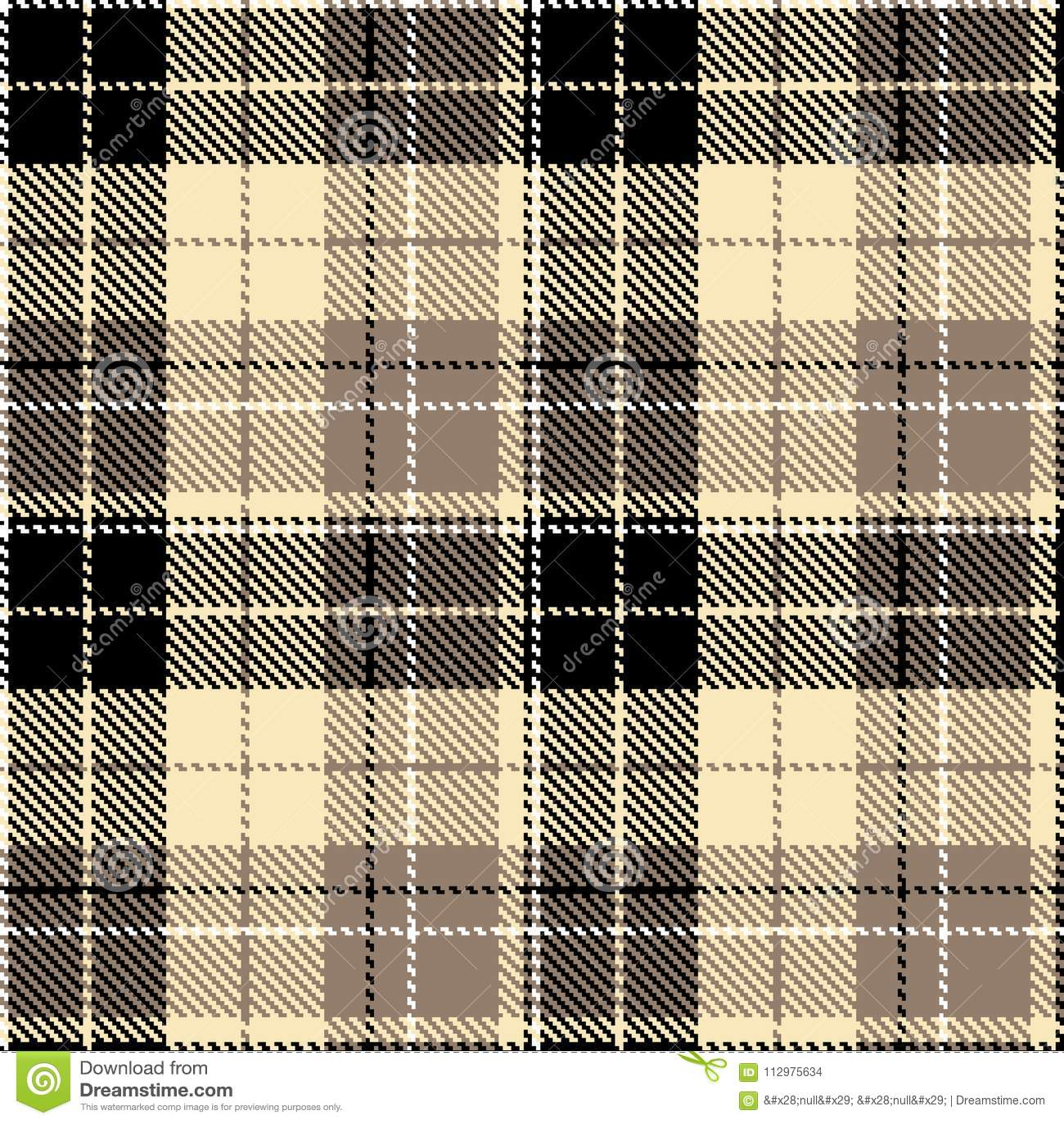 Check black beige fabric textil