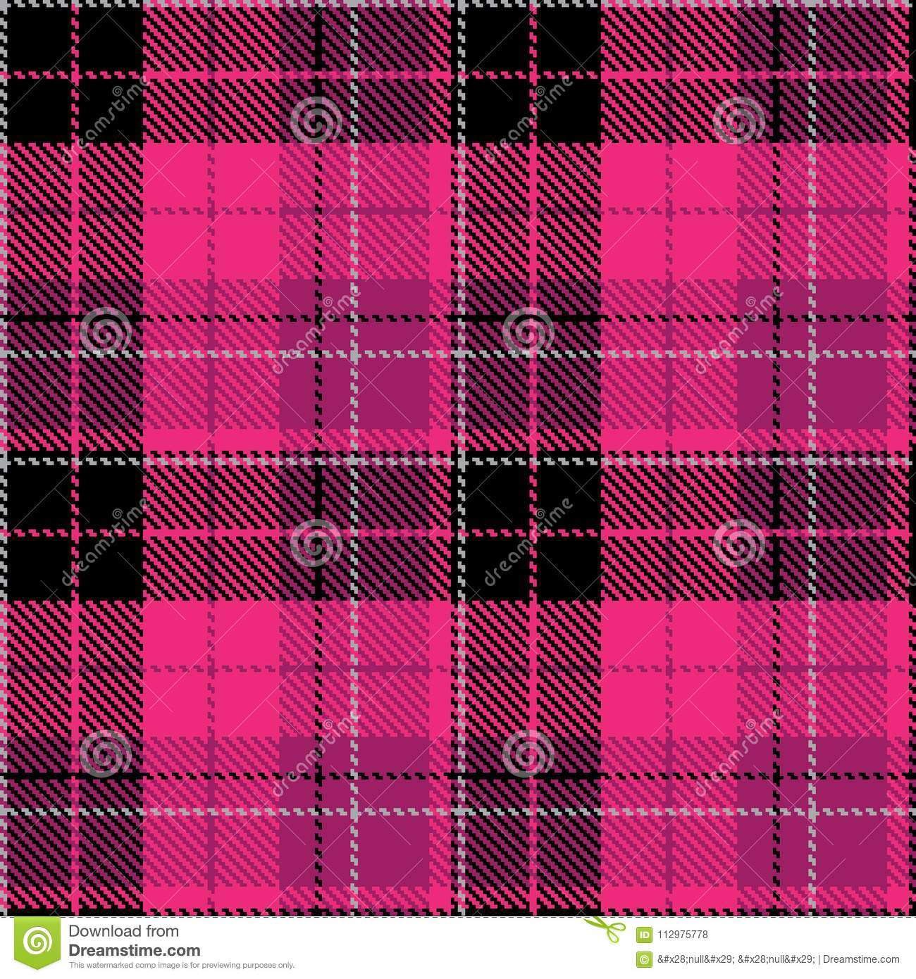Check black pink fabric pattern cloth