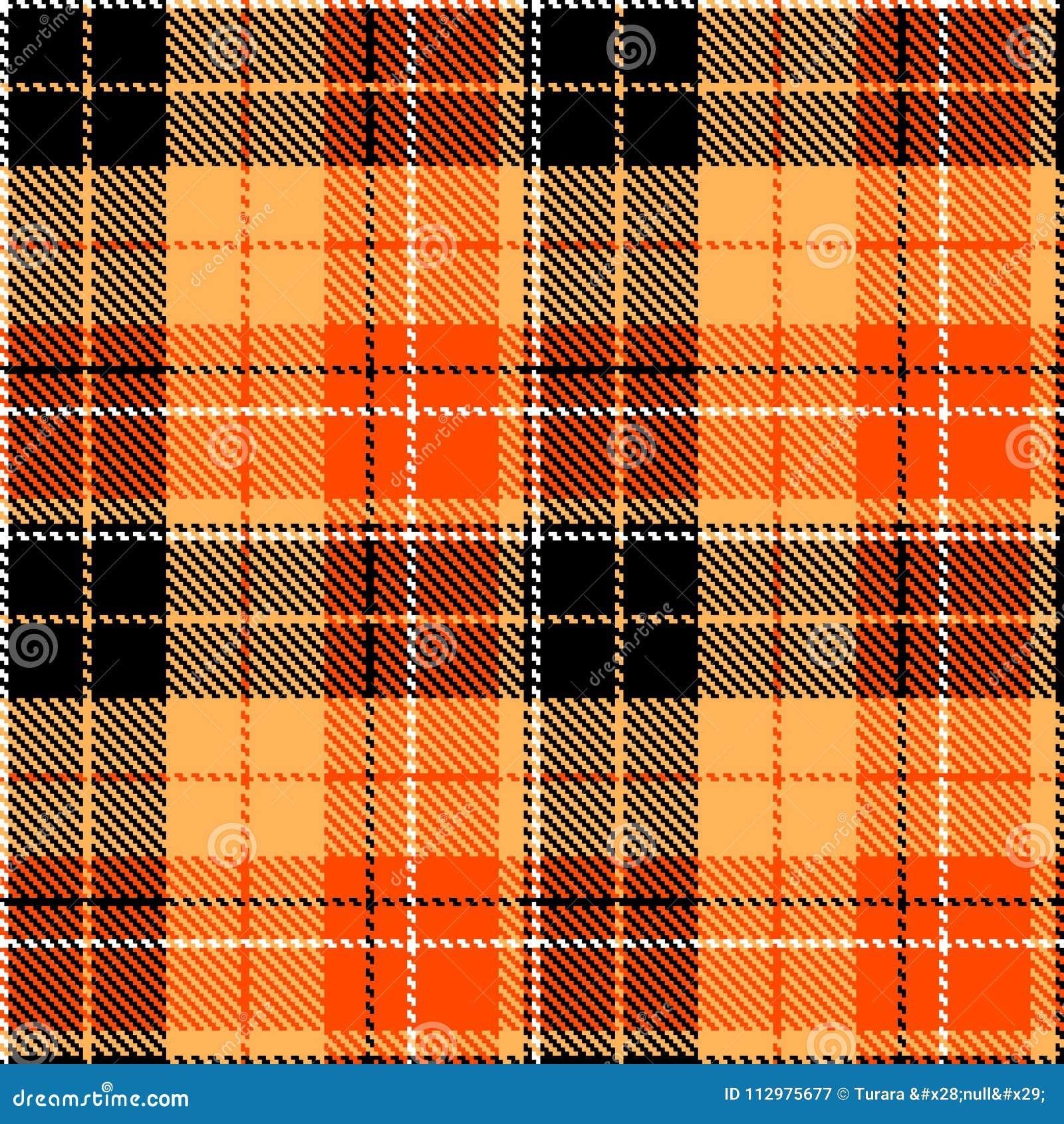 Check black orange fabric textil