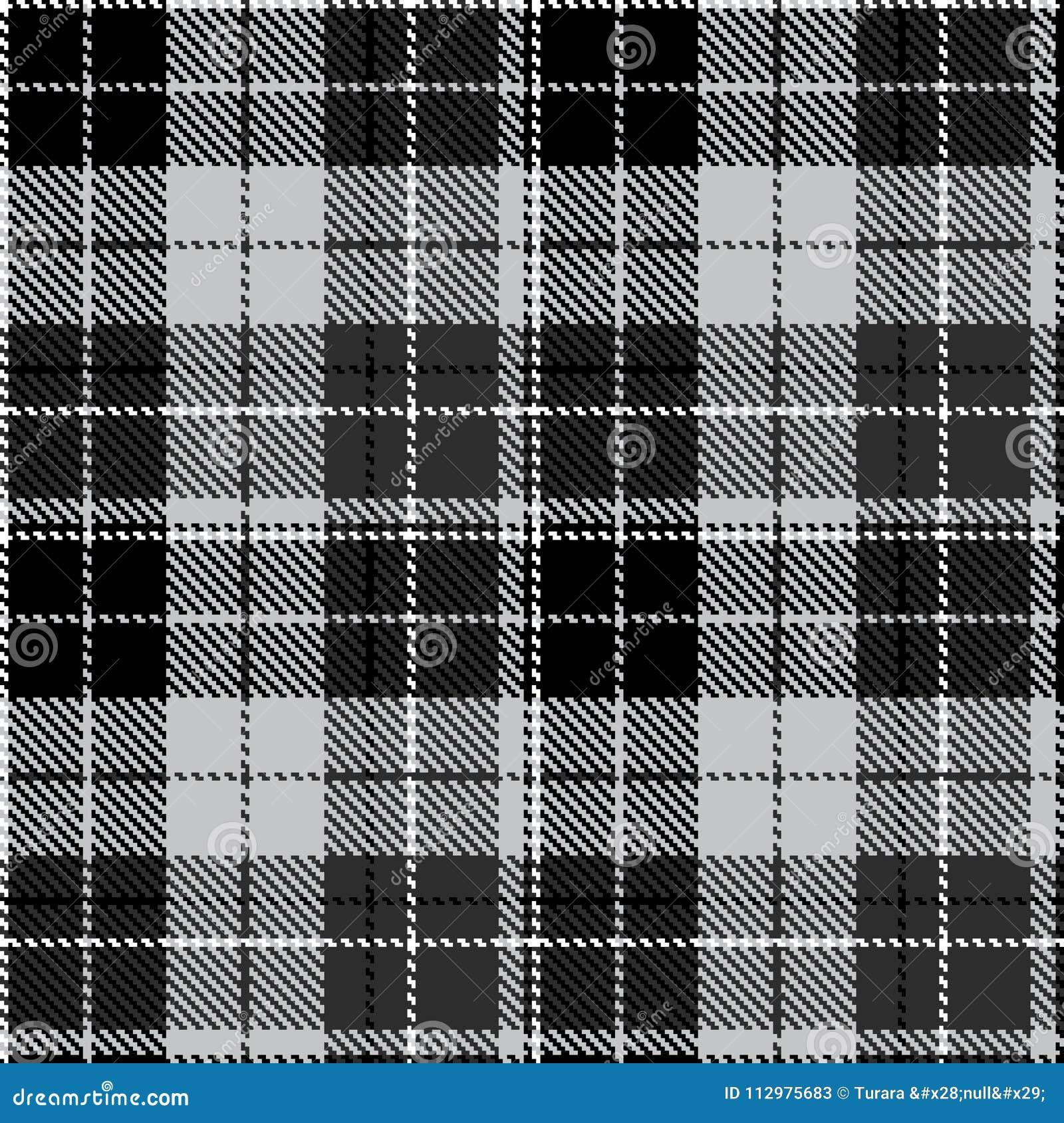 Check black grey fabric textil