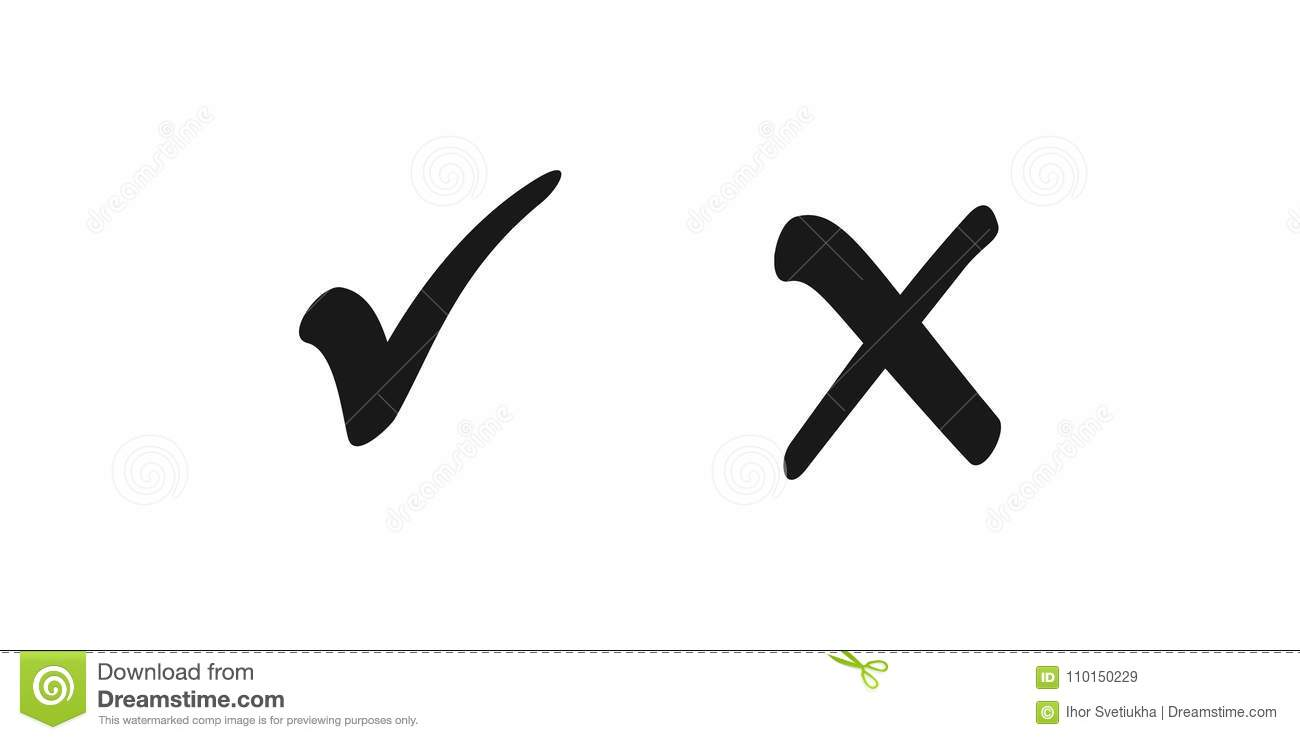 Check box list icons tick and cross, black marks isolated on white background. Vector illustration