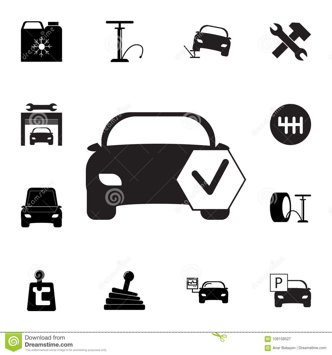 check car icon  set of car repair icons  signs  outline eco collection  simple icons for