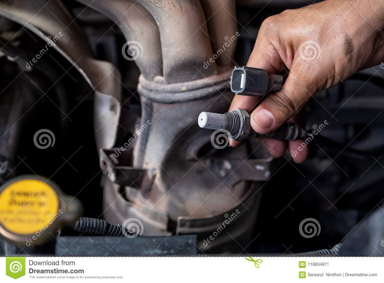 Check And Change The Oxygen Sensor Car Stock Image Of Sensors How To Diagnose Replace By Technician