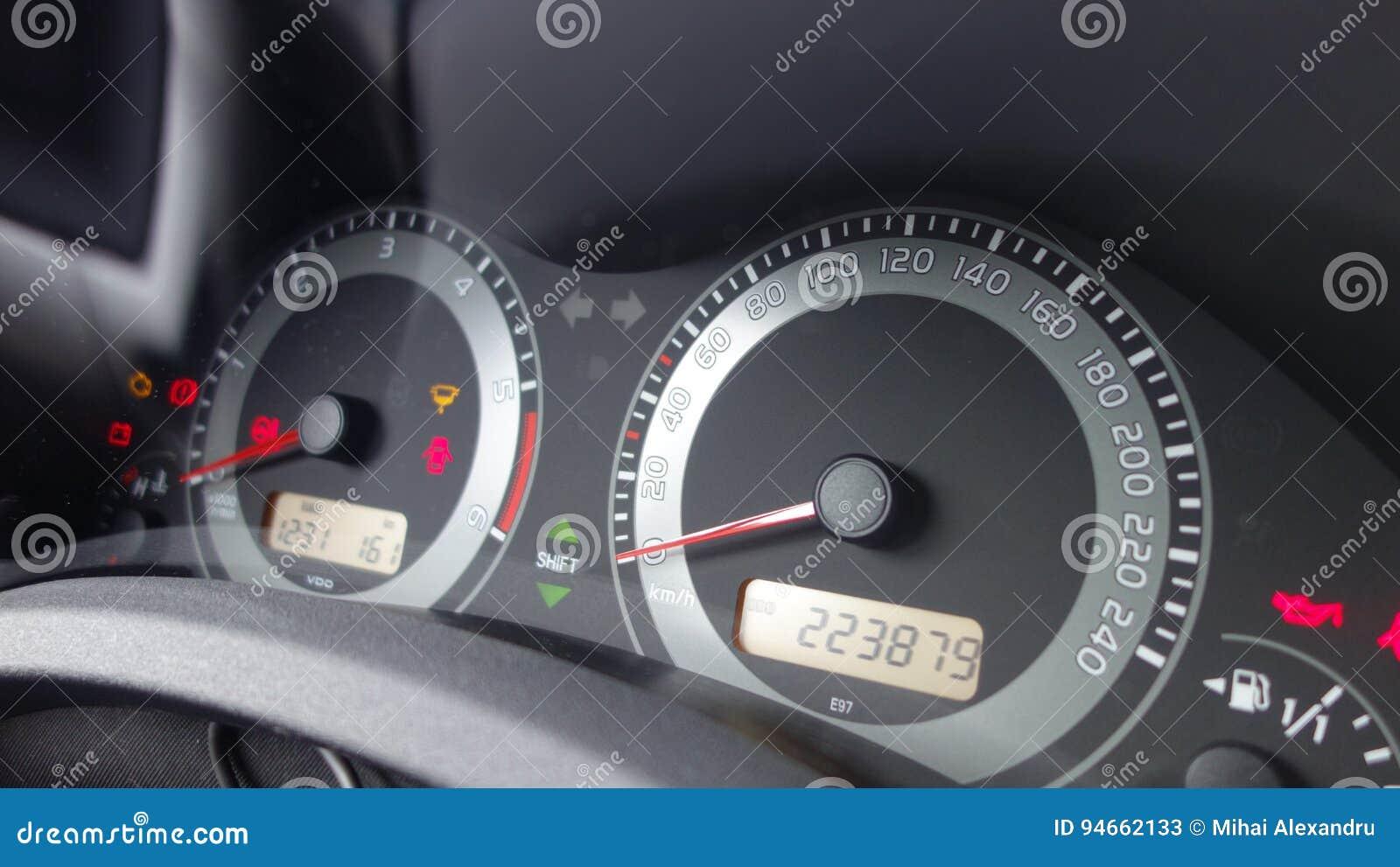 Check Engine Icon, Odometer Mileage Dashboard Instrument