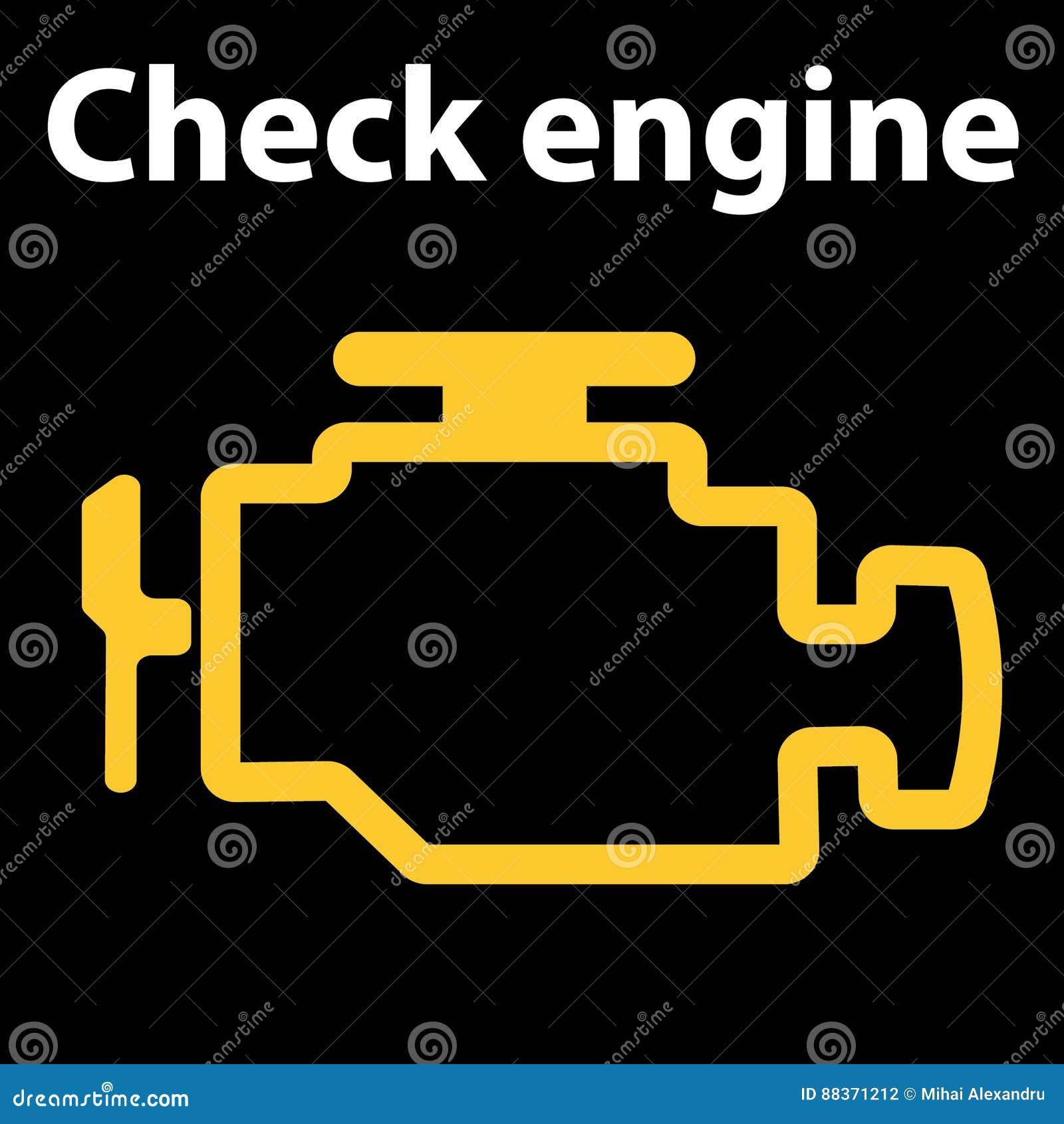 Check Engine Icon Warning Dashboard Signs Vector Illustration