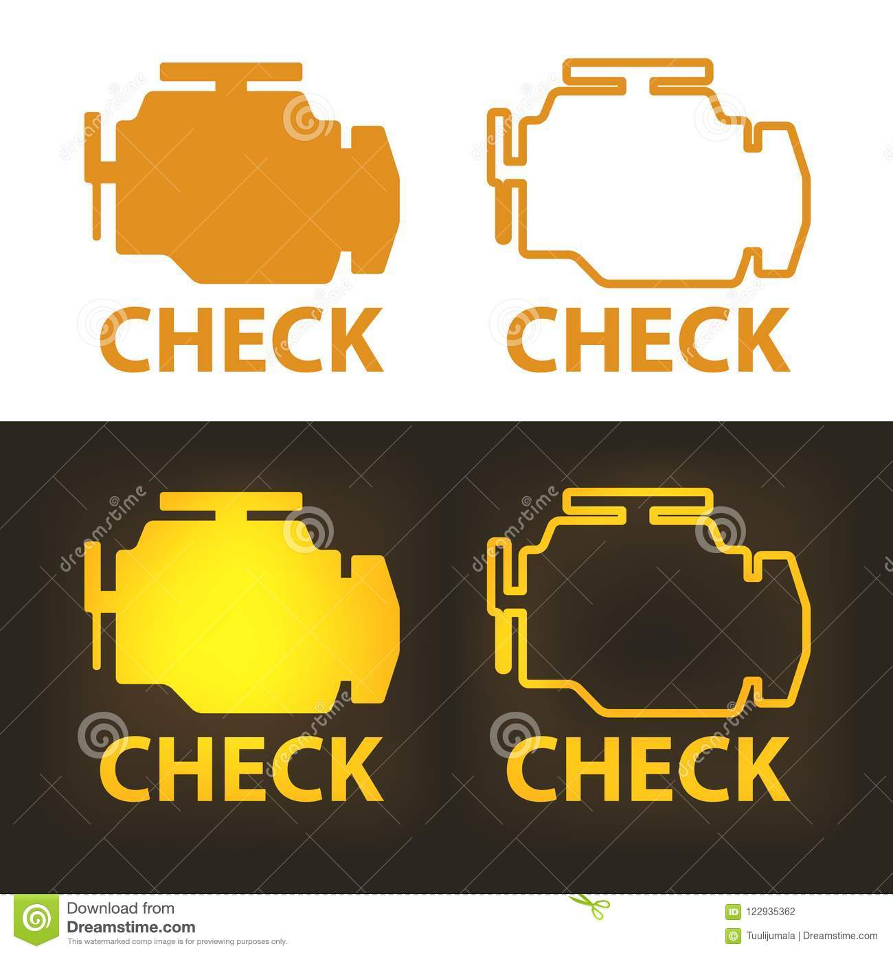 Check Engine Warning Sign stock vector  Illustration of auto