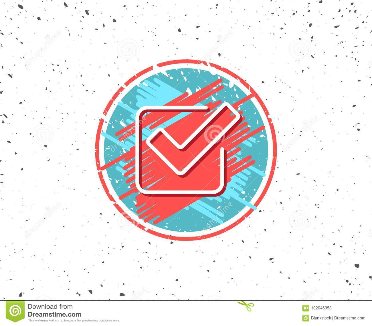 Check Line Icon Approved Tick Sign Stock Vector Illustration Of