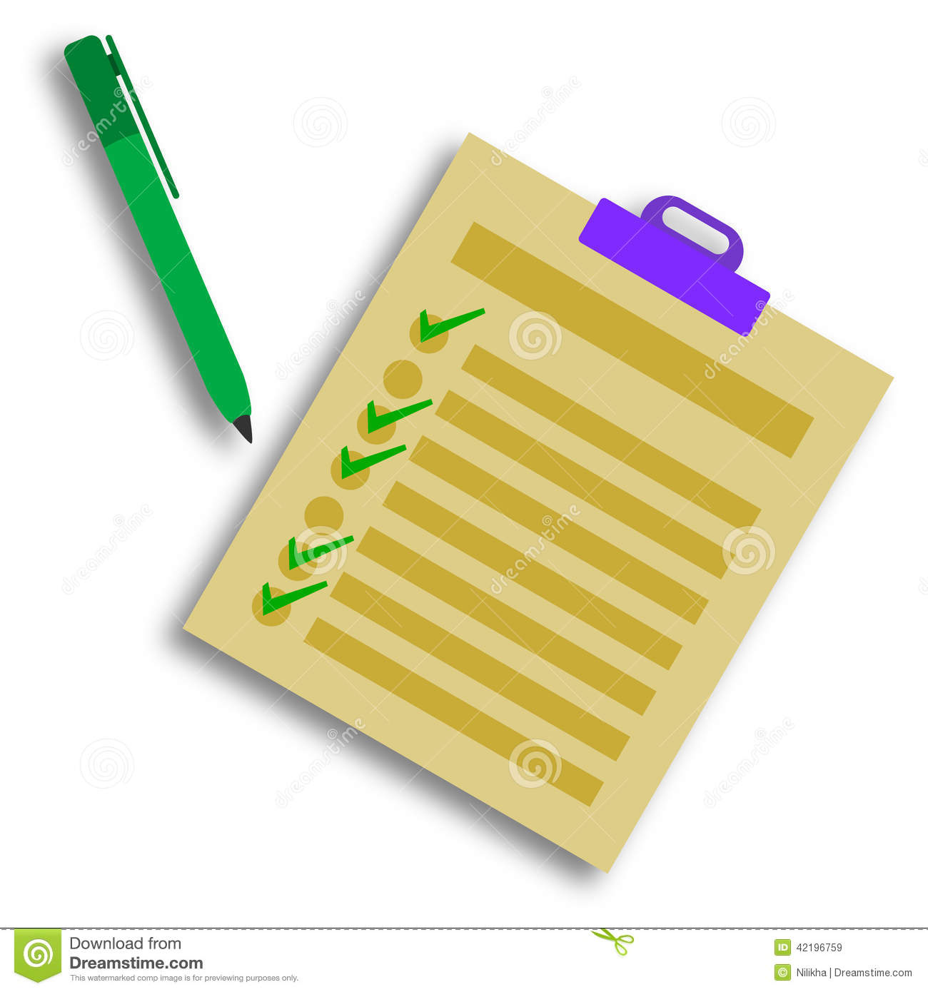 No Credit Check Credit Cards >> Check List Stock Illustration - Image: 42196759