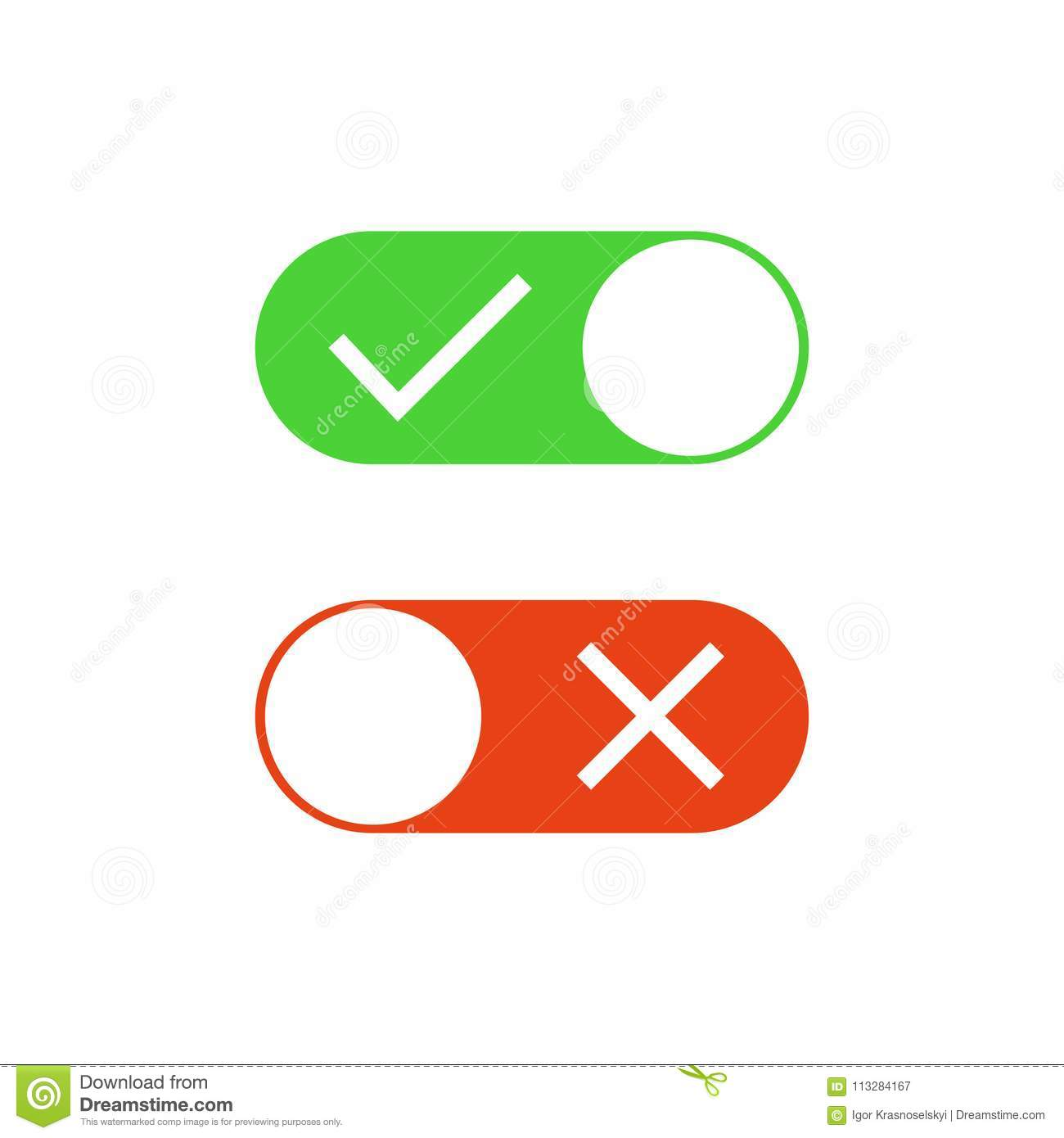 Check Mark Buttons Check Mark And X Mark On And Off Stock Vector
