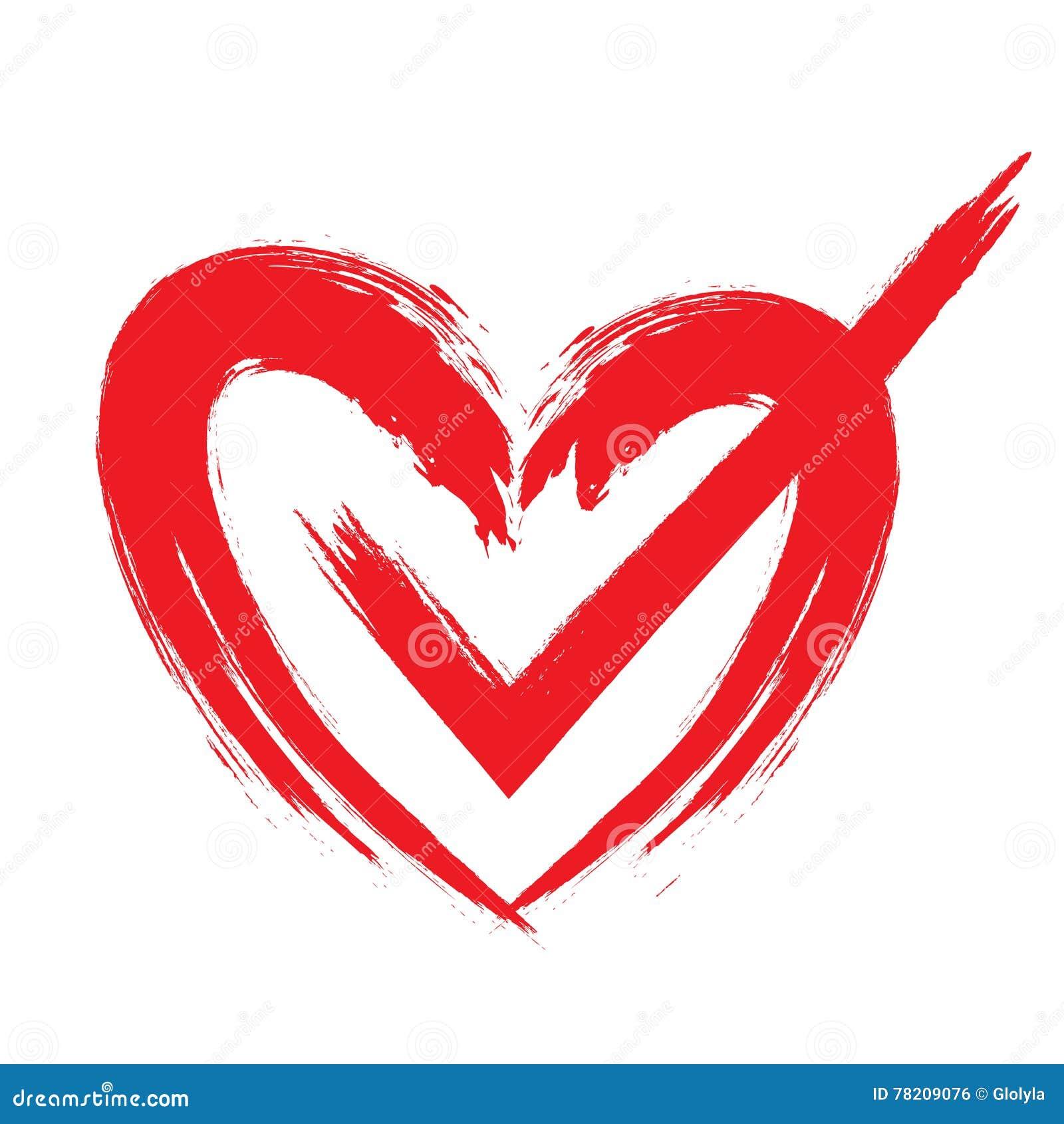 Check Mark In Heart Stock Vector Illustration Of Brush 78209076