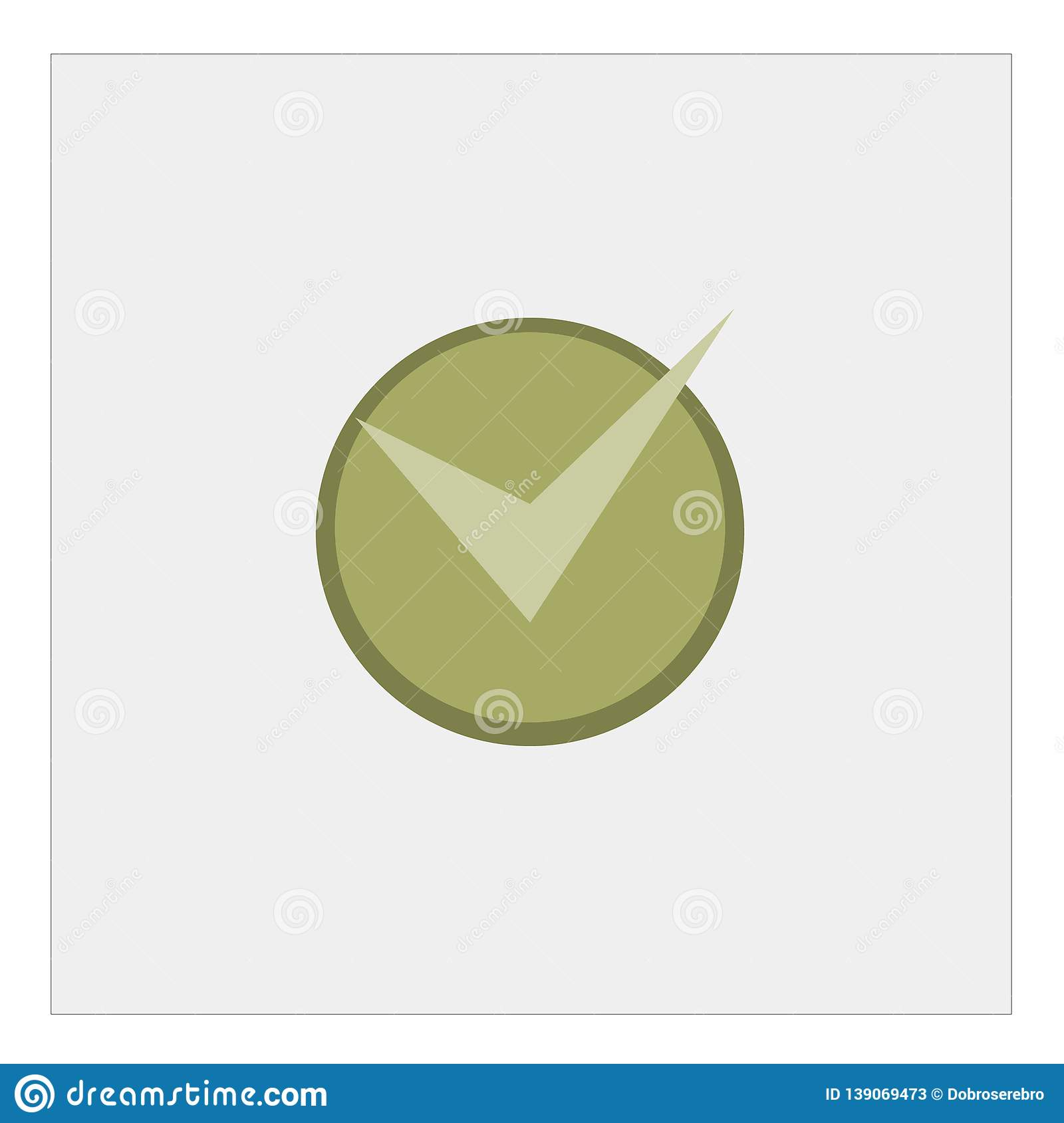 Check mark icon in flat style. Ok, accept illustration on white isolated background. Tick business concept