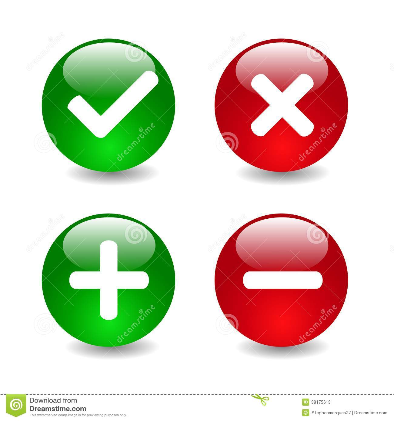 Check Mark Icons Illustration Stock Photos - Image: 38175613 X And Check Icon