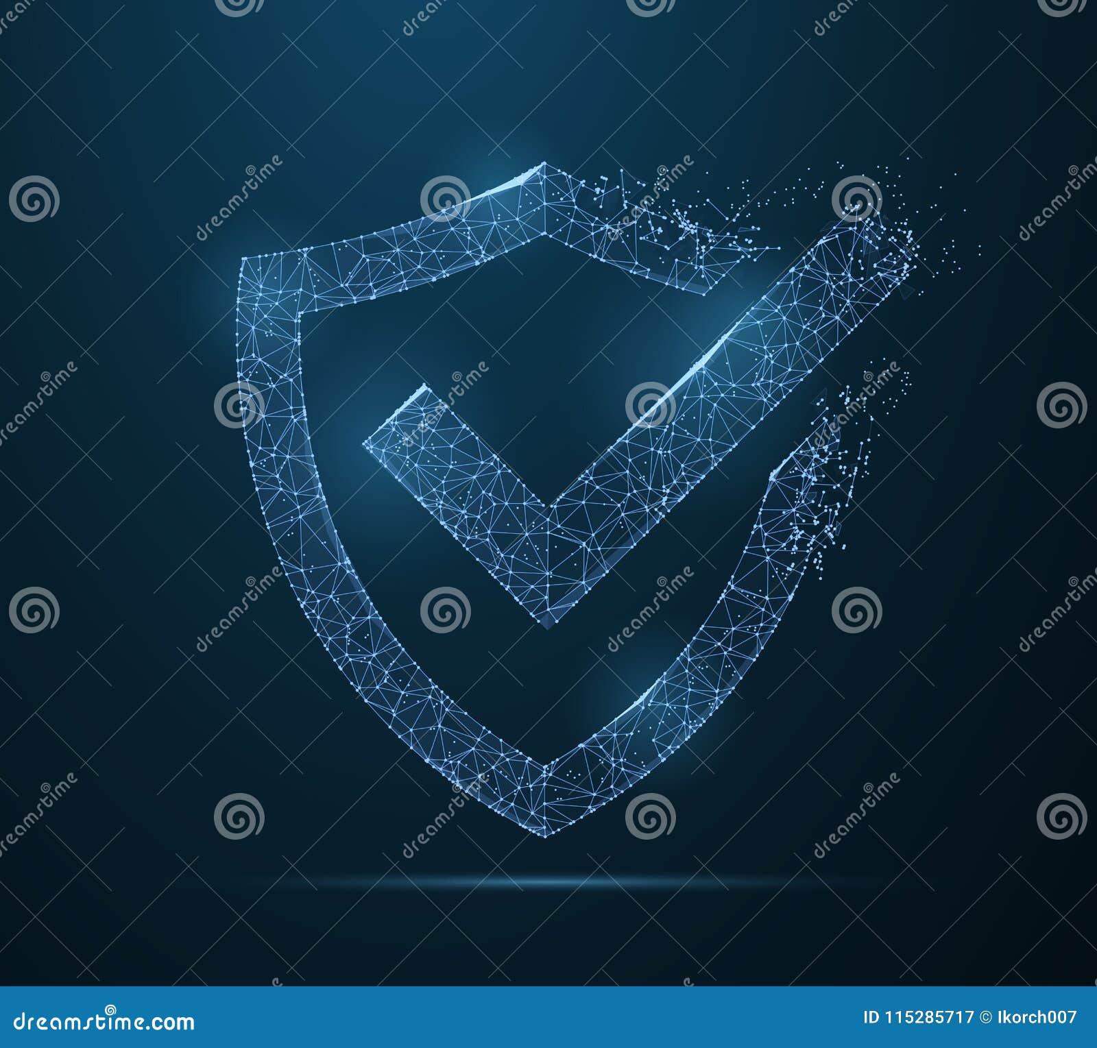 Check Mark On Shield   Polygonal Wireframe Mesh Art
