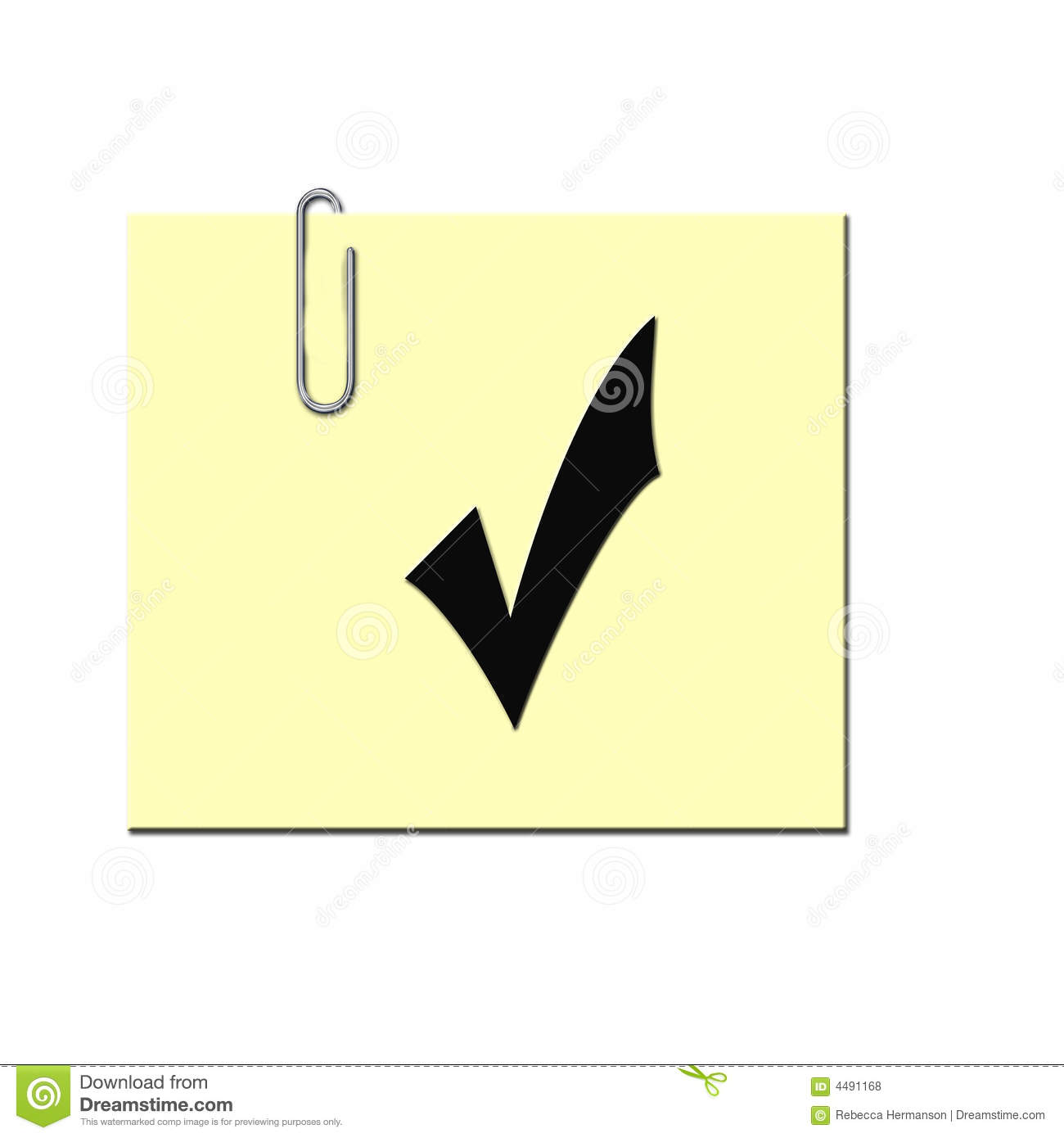 check mark on sticky note royalty free stock photos