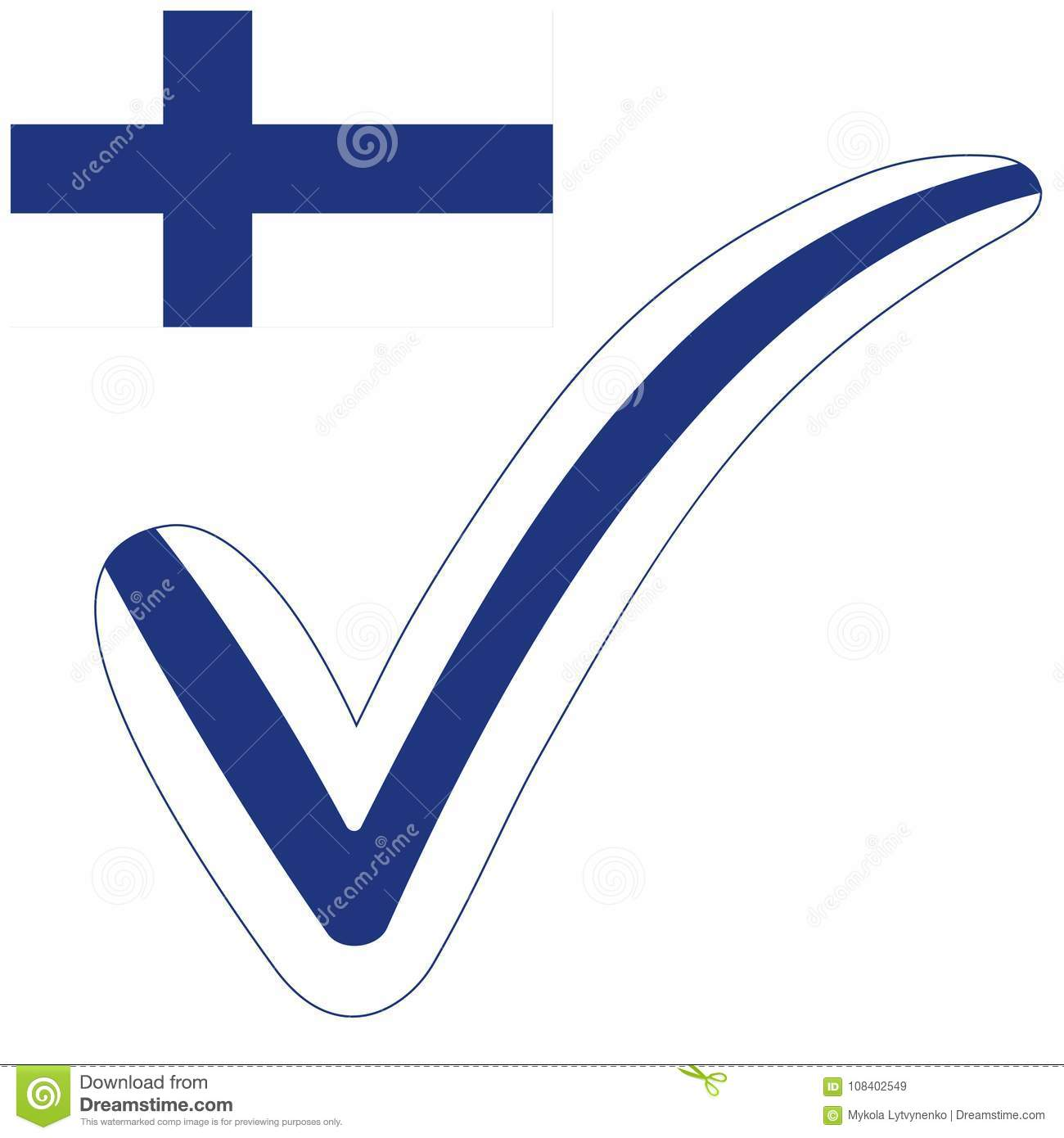 Check Mark Style Finland Republic Flag Symbol Elections Voting And