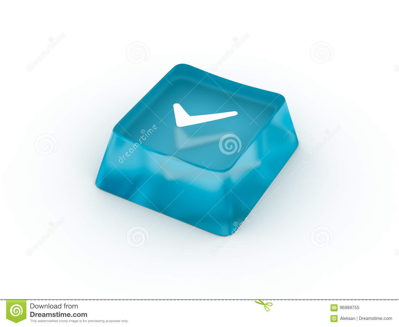 Check Mark Symbol On Keyboard Button 3d Rendering Stock