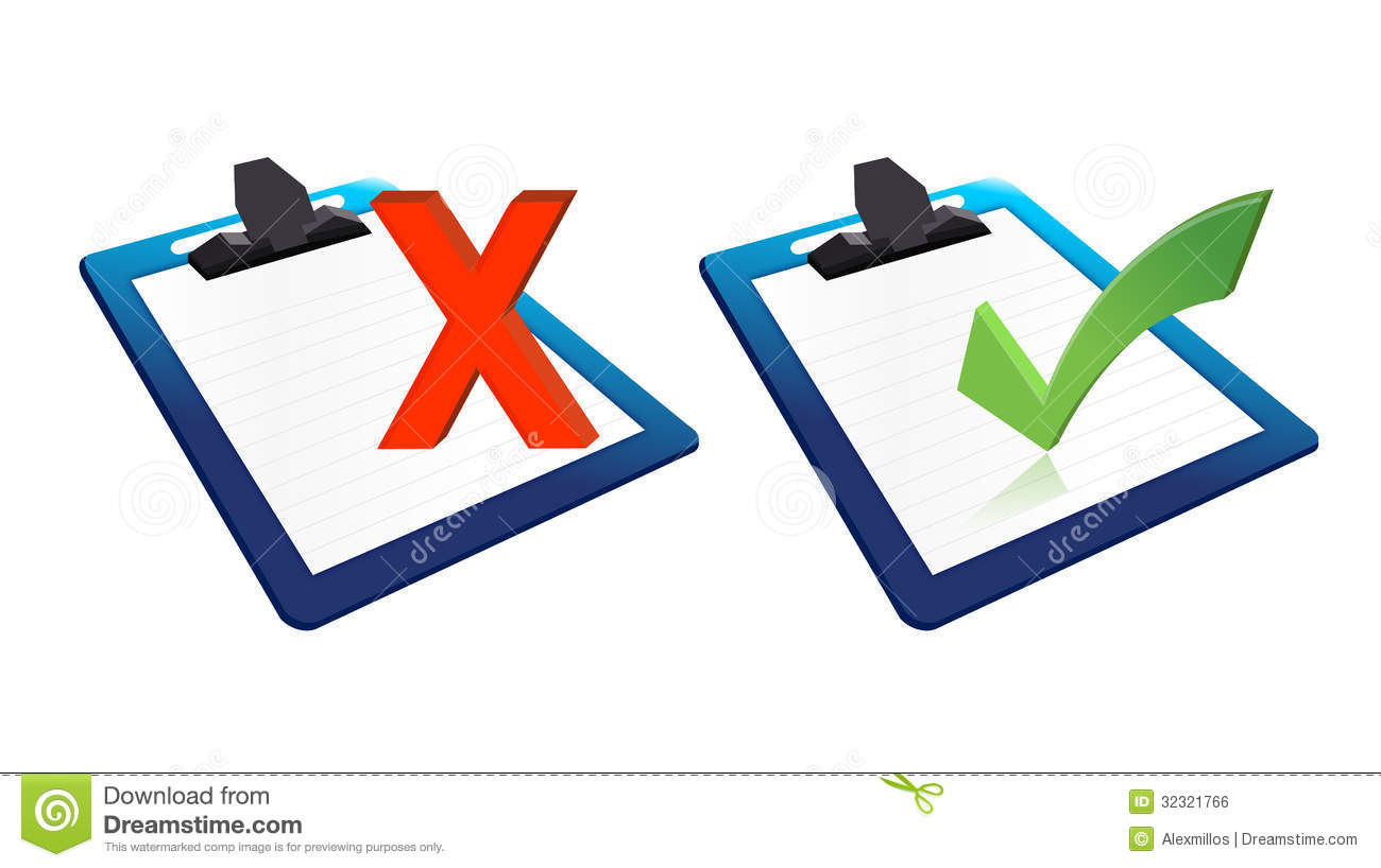 check mark and x mark clipboards illustration stock