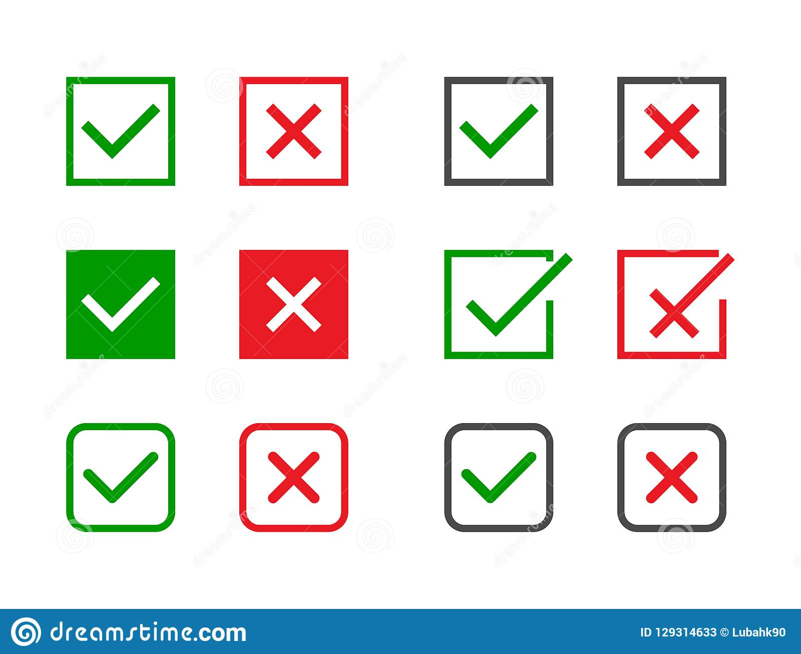 Check marks set. Green tick and red cross in different shapes. YES or NO accept and decline symbol. Vector icons for