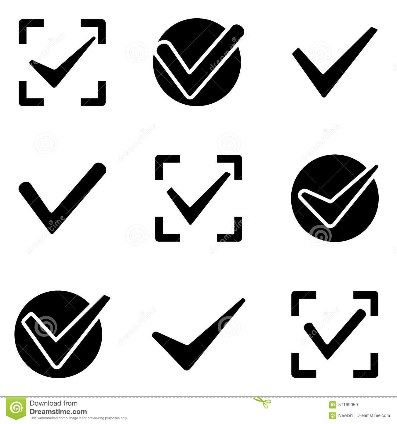 Check Marks Web And Mobile Logo Icons Collection Stock Vector