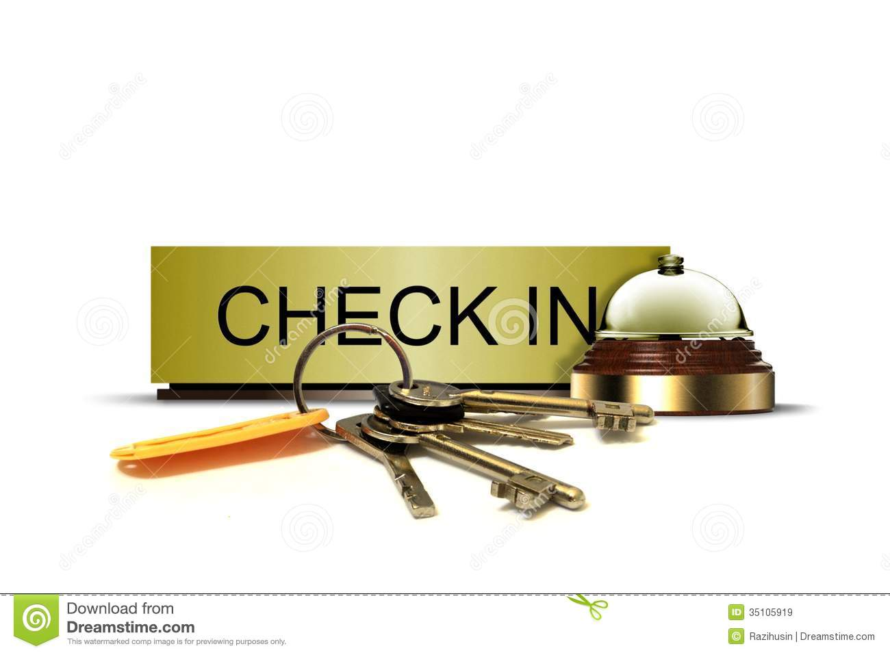 Check In Sign With Call Bell And Bunch Of Keys Royalty Free Stock ...