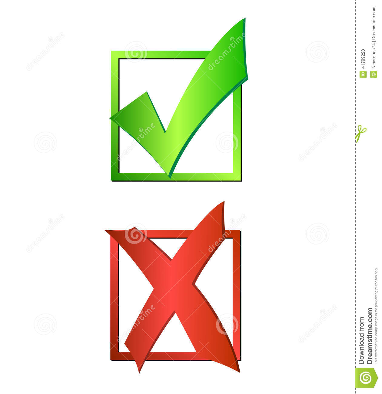 Check Uncheck Stock Vector - Image: 41789220 X And Check Icon