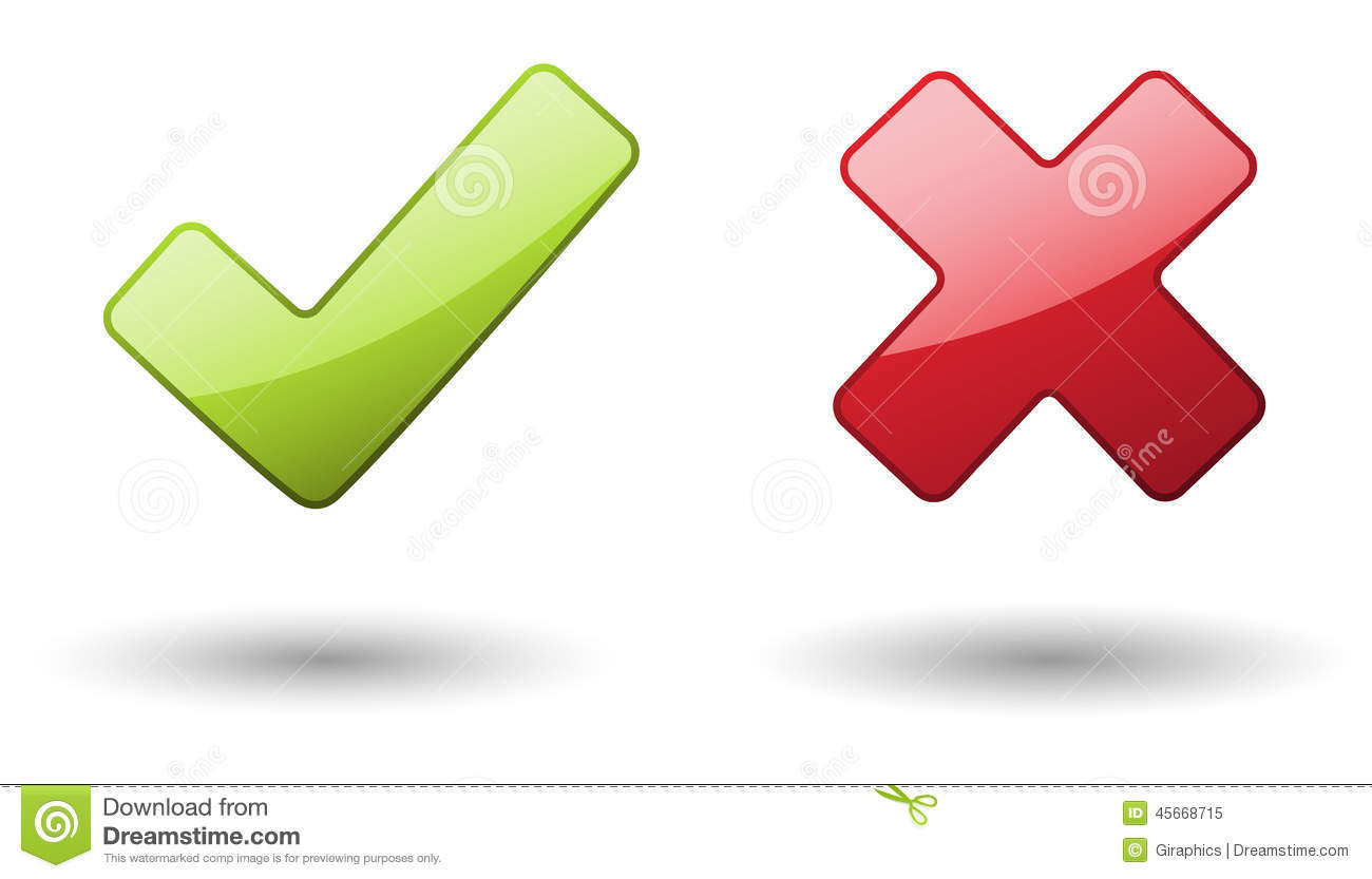 Check And X Mark Stock Vector - Image: 45668715 X And Check Icon
