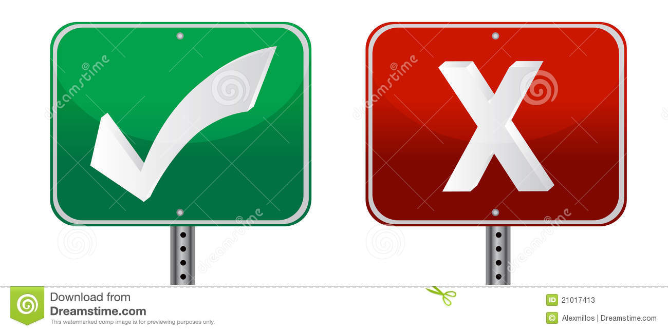 Check and x mark signs  X Mark