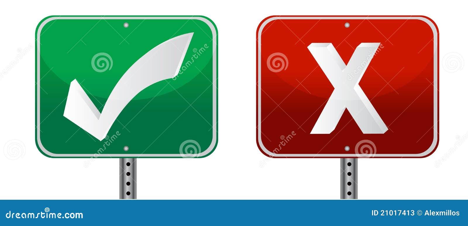 No Credit Check Credit Cards >> Check And X Mark Signs Stock Photos - Image: 21017413