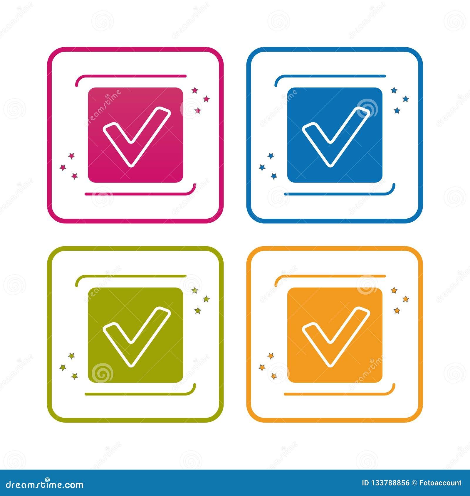 Checkbox - contour a dénommé l icône - course Editable - illustration de vecteur - d isolement sur le fond blanc
