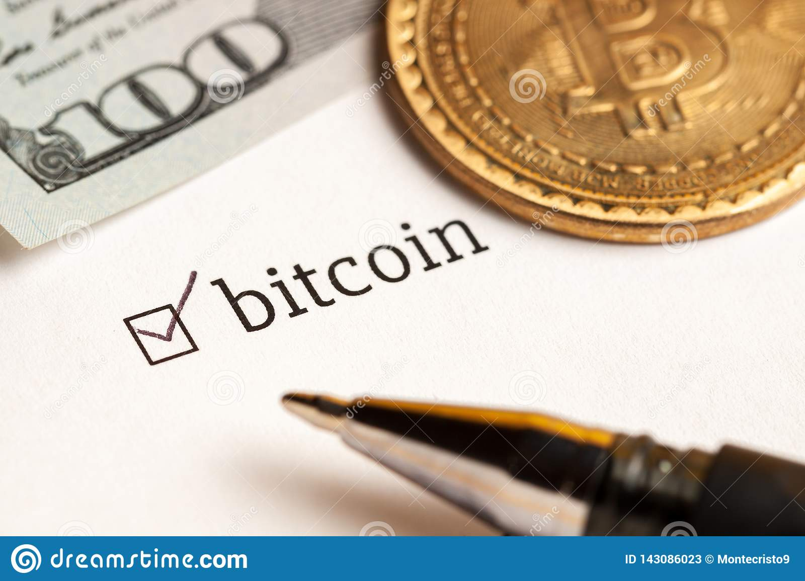 Checked checkbox with word bitcoin and dollars at background. questionnaire concept