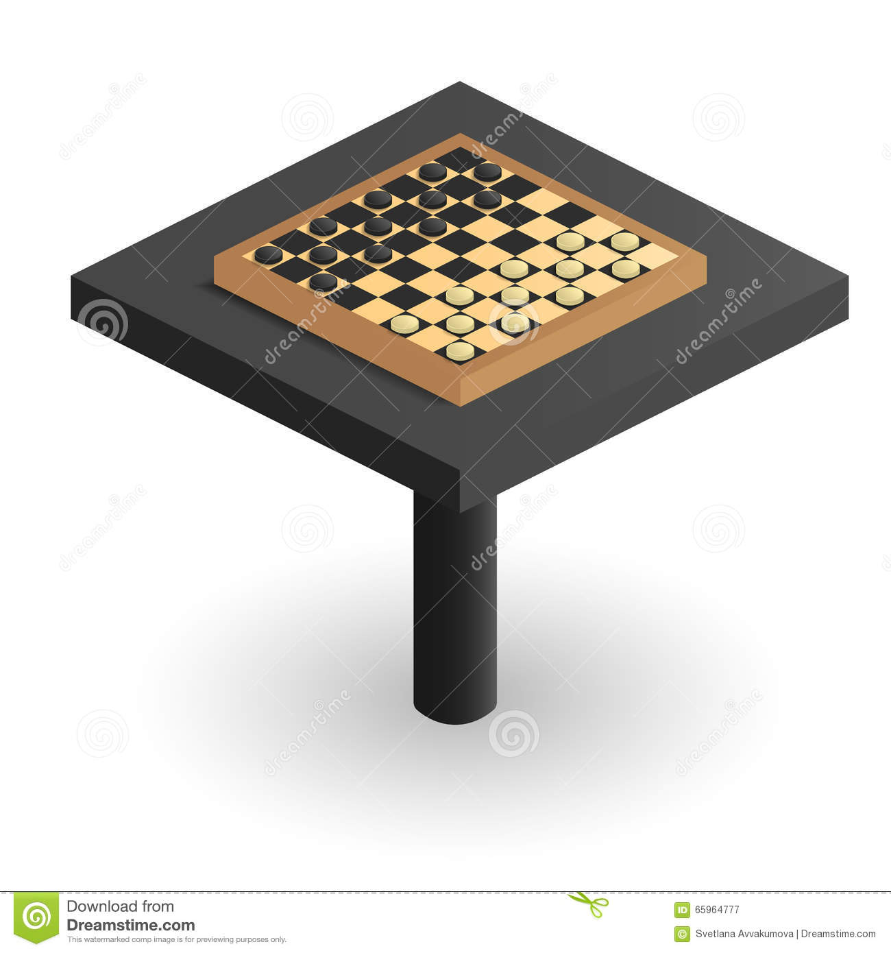 Chess Board Design Checkerboard In Perspective On The Table Isometric Image