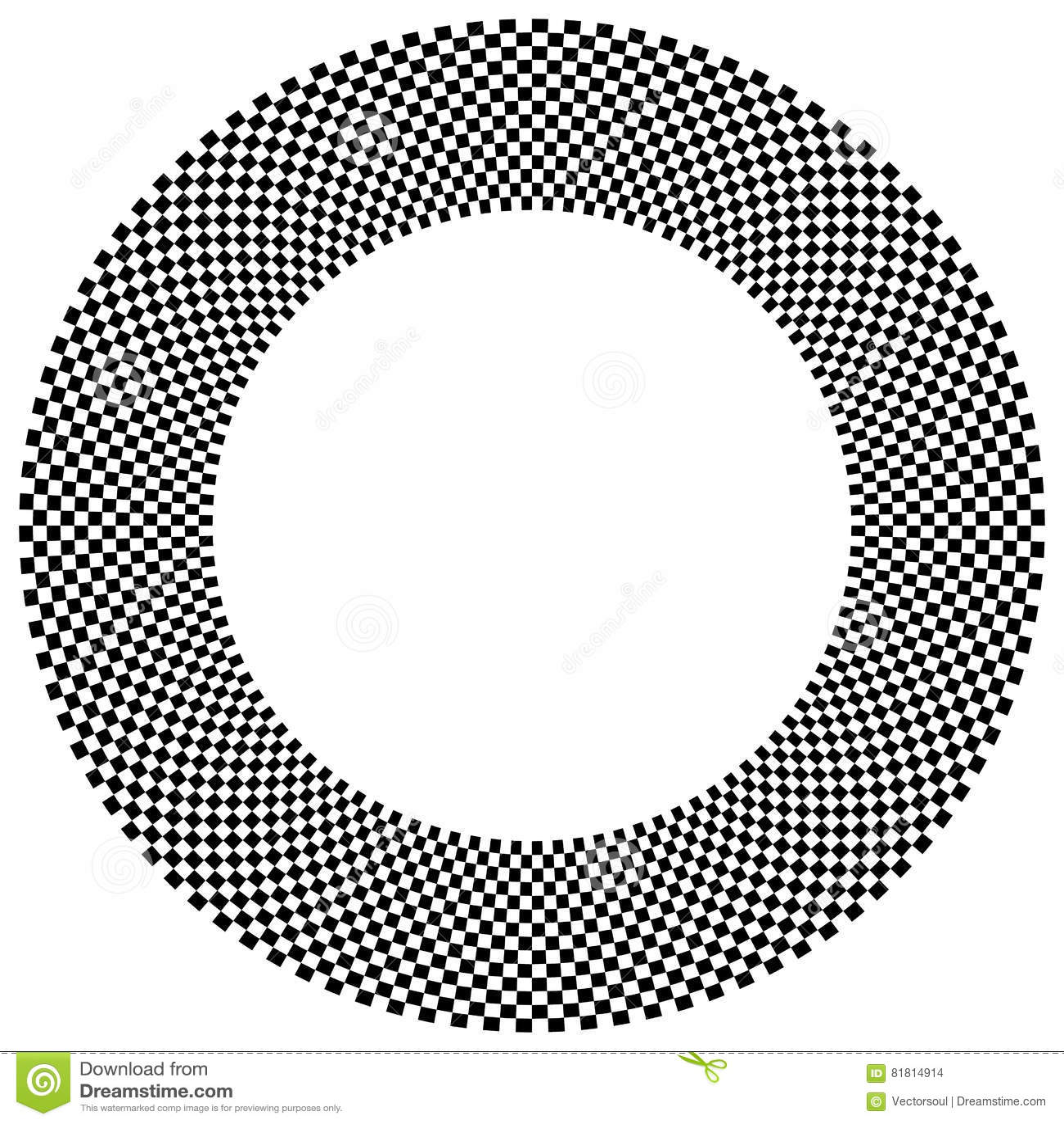 Checkered круговой элемент Абстрактный monochrome график с squ