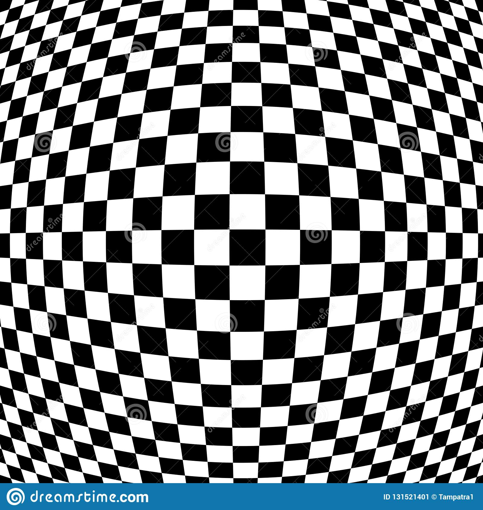 Checkered abstract wallpaper black and white fabric illusion pattern texture background 3d squares illustration