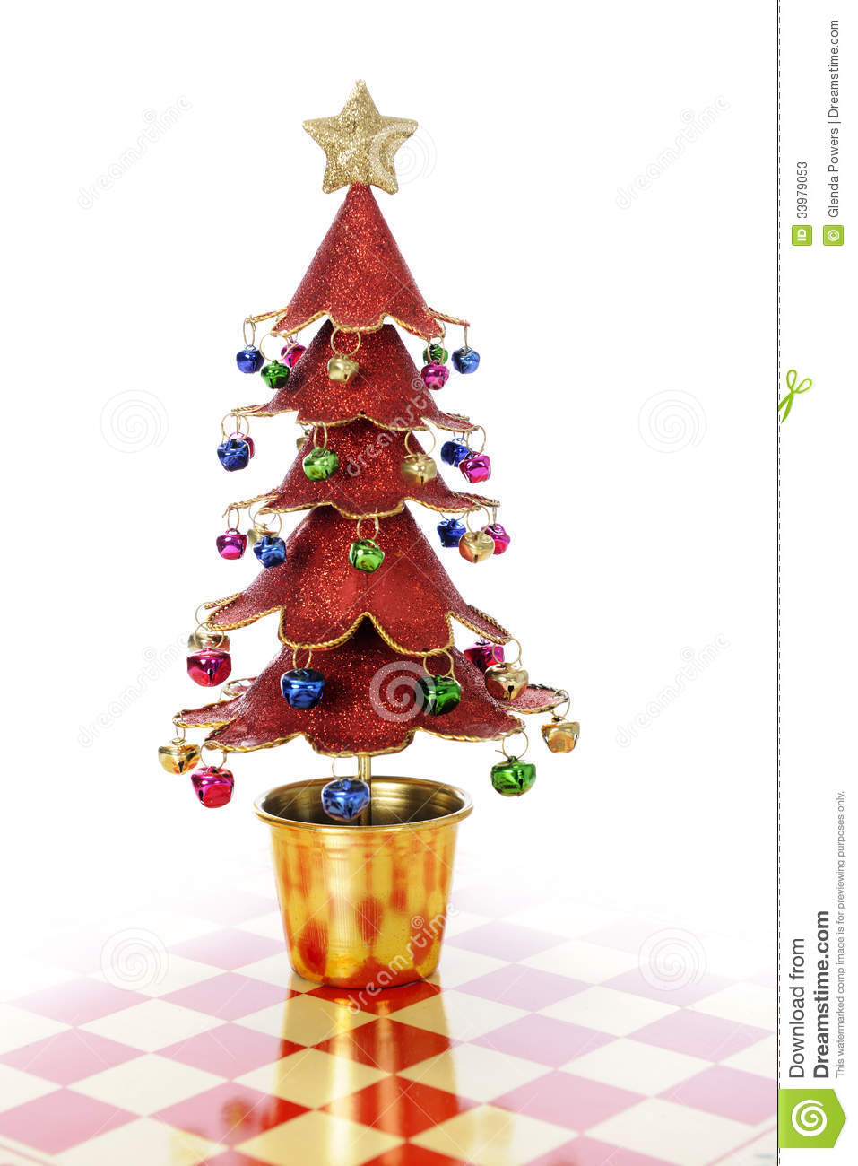 Gold And Red Decorated Christmas Trees