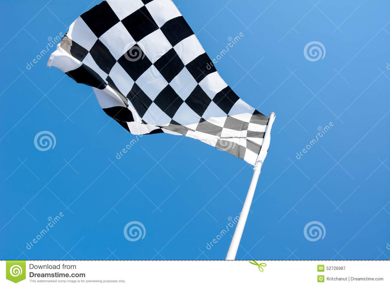 Checkered Flag Flying On Blue Sky Background Stock Photo ...