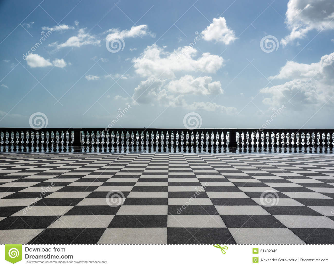 Checkered Floor In City Square Stock Photography Image