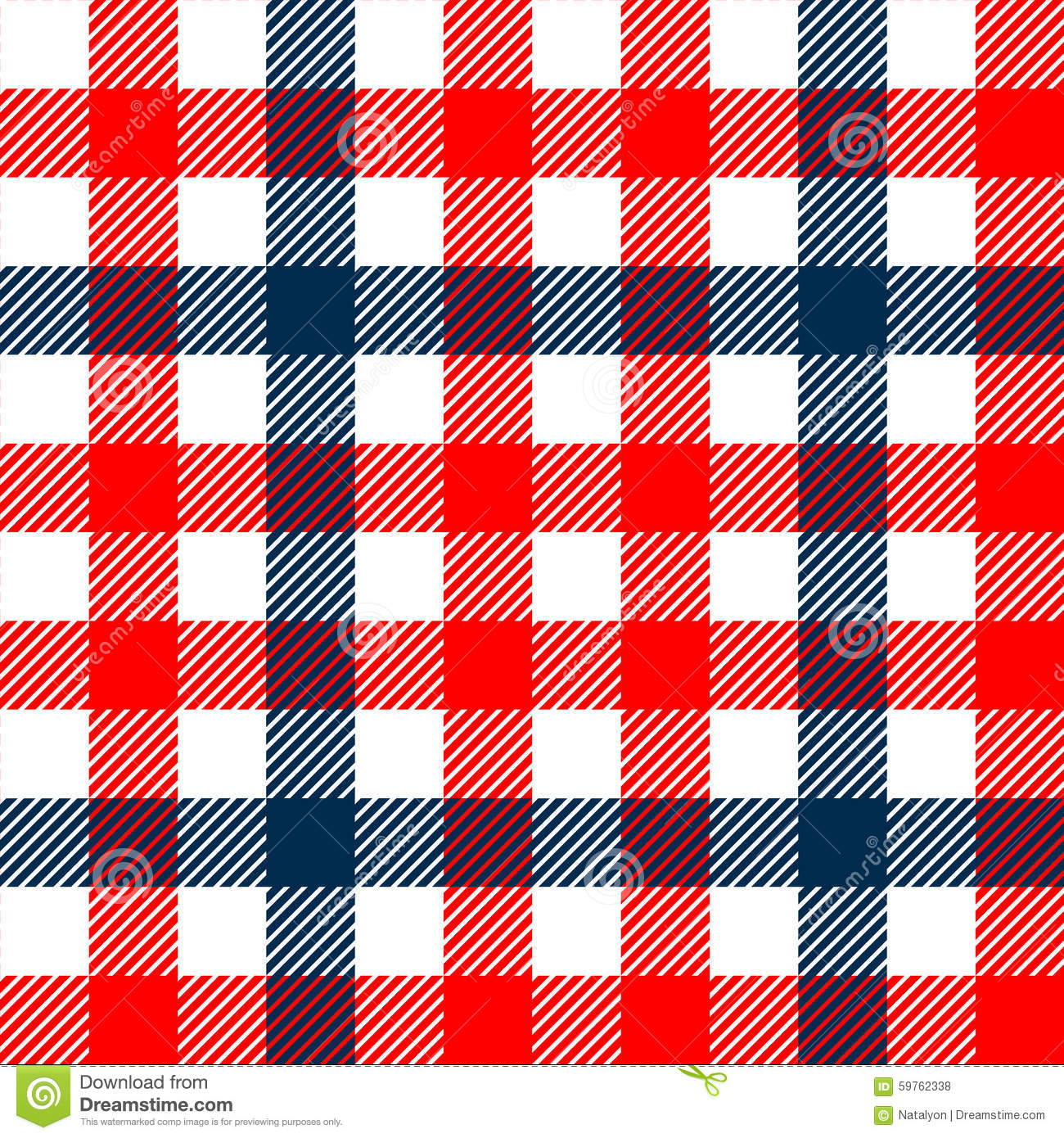 Checkered Gingham Plaid Fabric Seamless Pattern In Blue