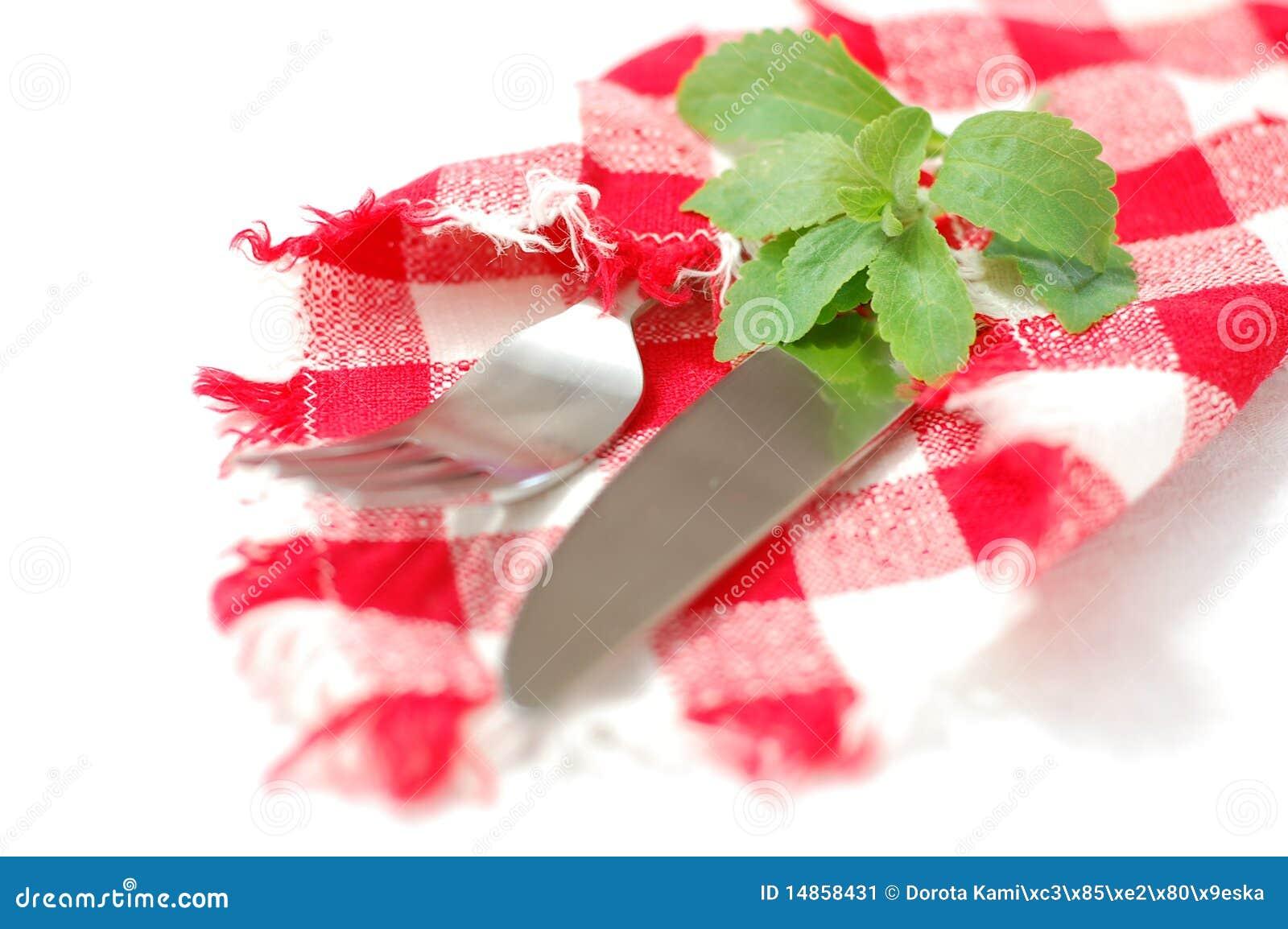 Checkered napkin, stevia and cutlery