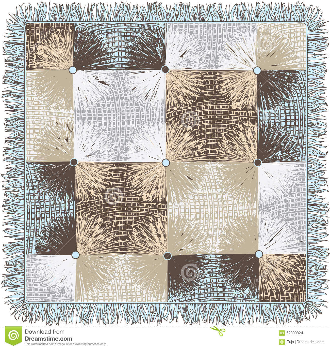 Checkered Quilt Weave Plaid With Decorative Circles And