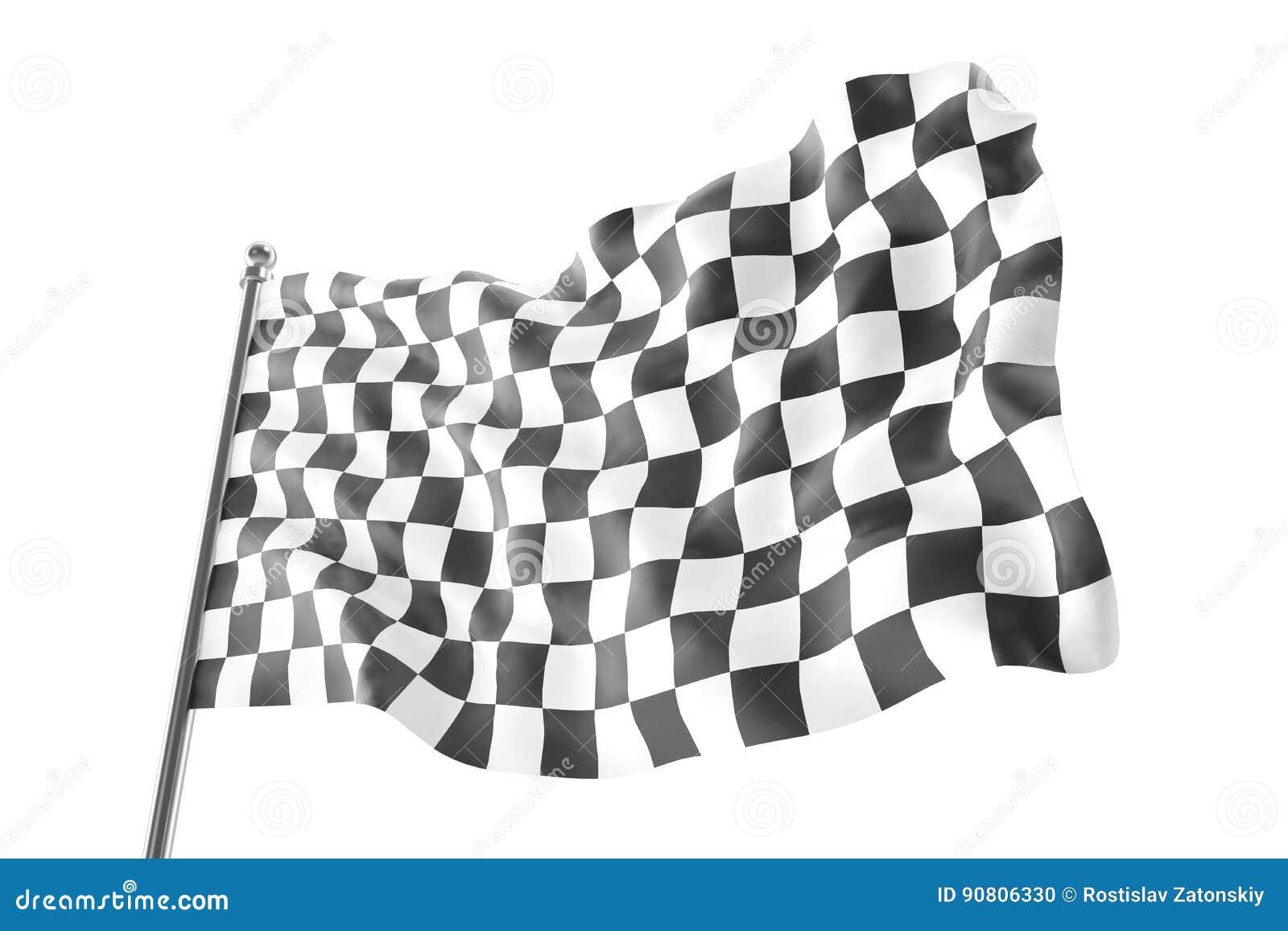 Checkered Race Flag  Finishing Checkered Flag, 3d Rendering