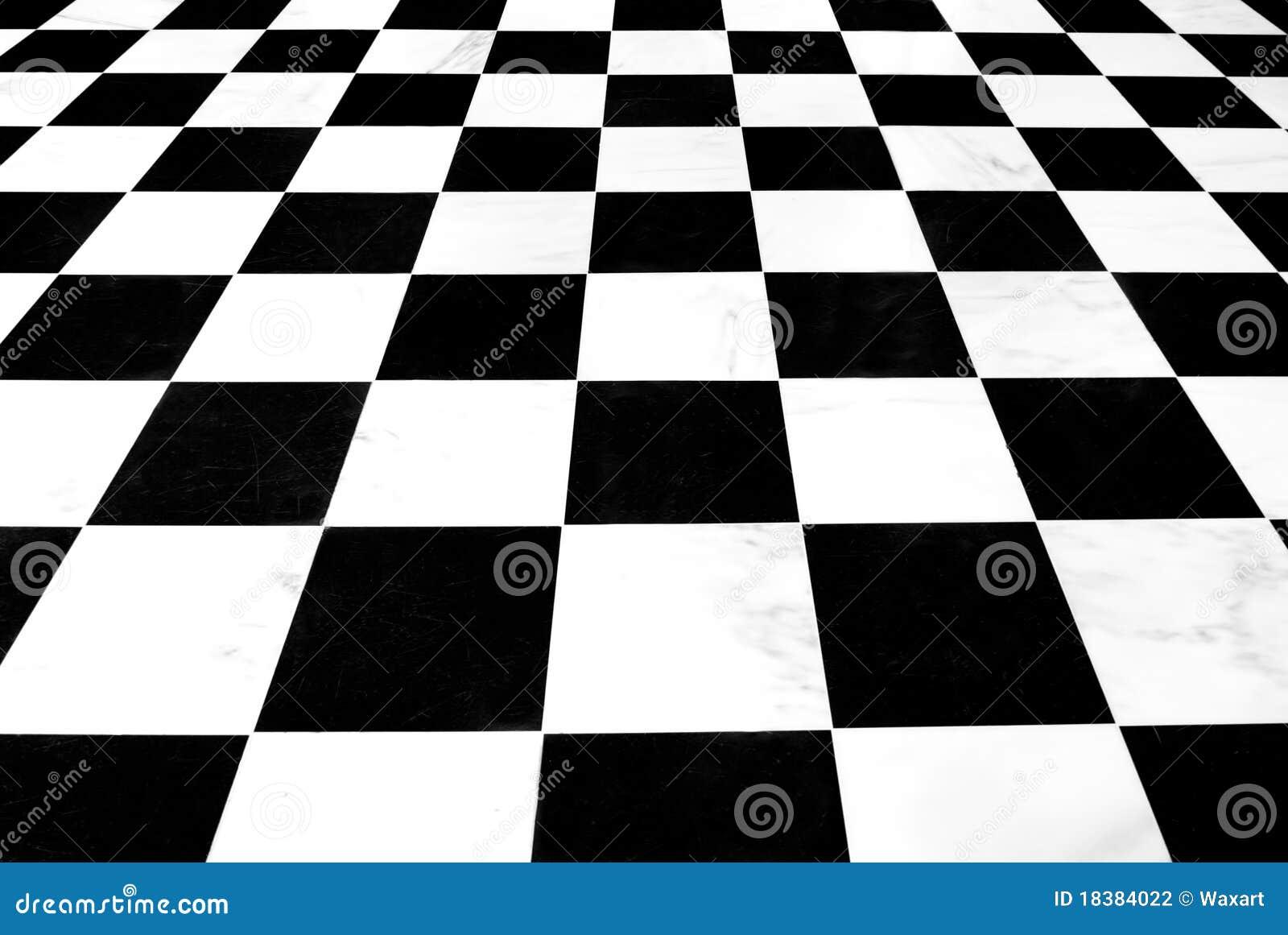 Checkered Schwarzweiss-Fußboden