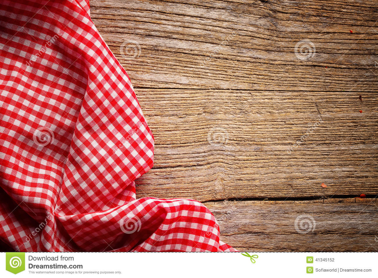 Checkered Tablecloth On Wood Stock Photo