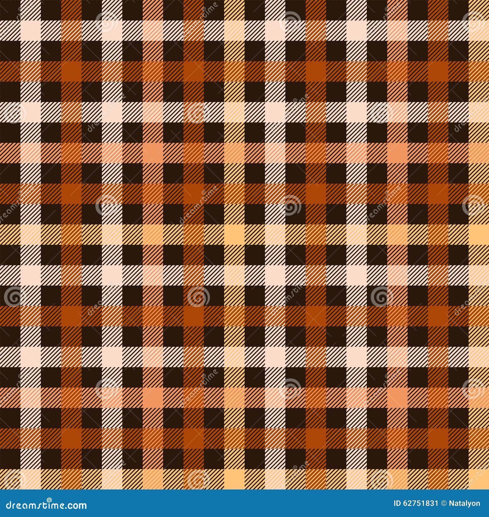 Checkered Design Checkered Tartan Fabric Seamless Pattern In Brown And Orange