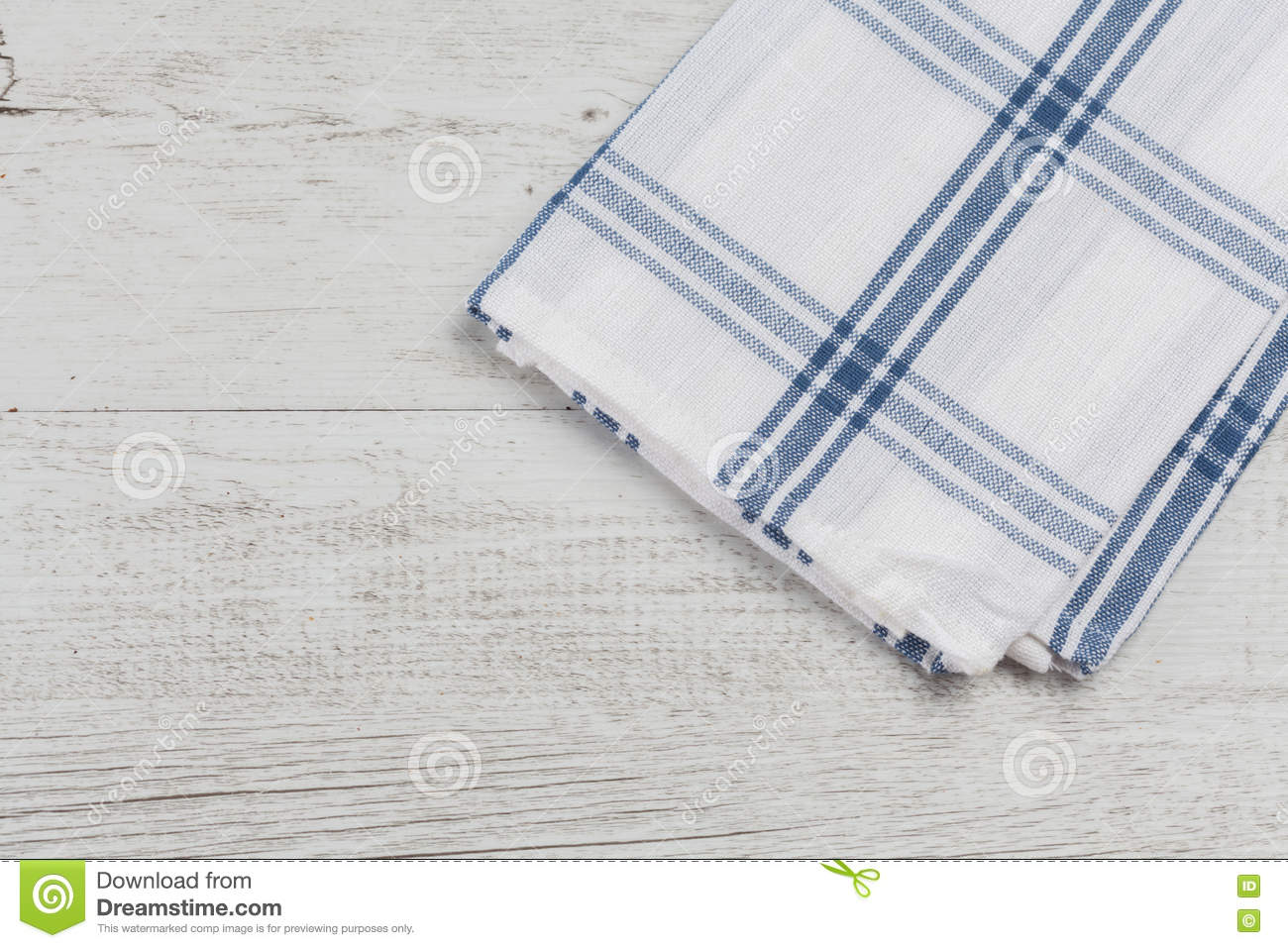 Blue and white kitchen towels - Checkered White Blue Kitchen Towel On White Rustic Wooden Background